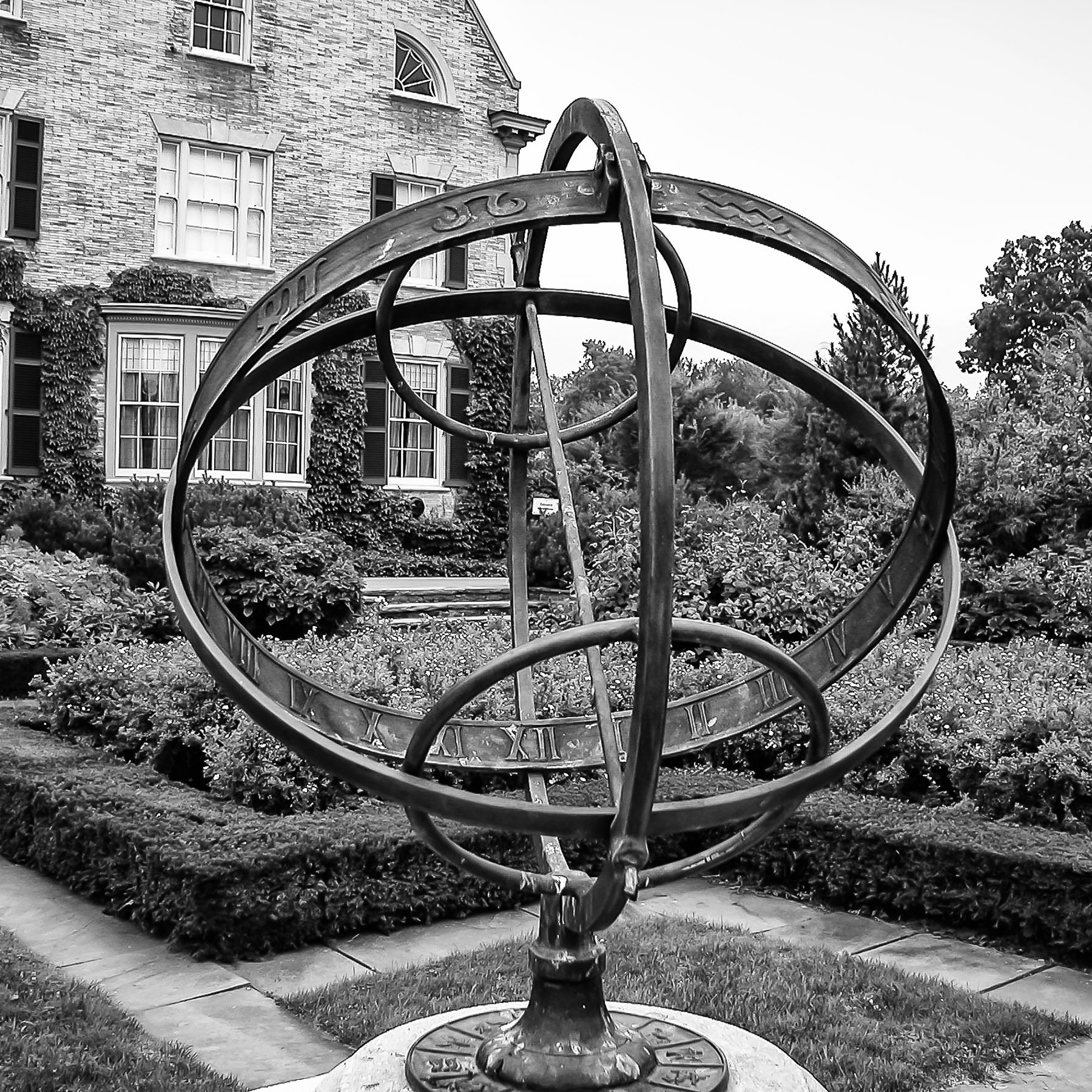 This armillary—a type of sundial—is at the George Eastman (founder of Kodak) House in Rochester, NY.