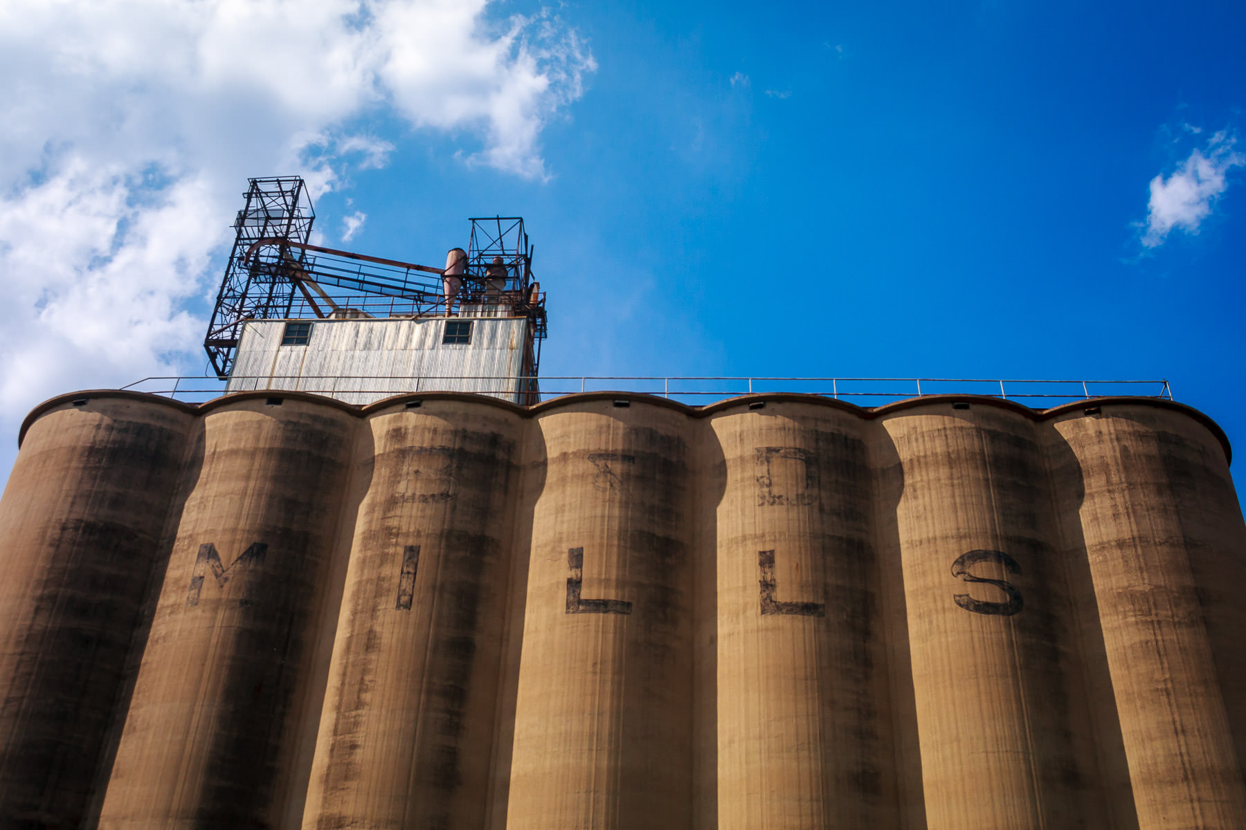 Old grain silos in Grapevine, Texas.