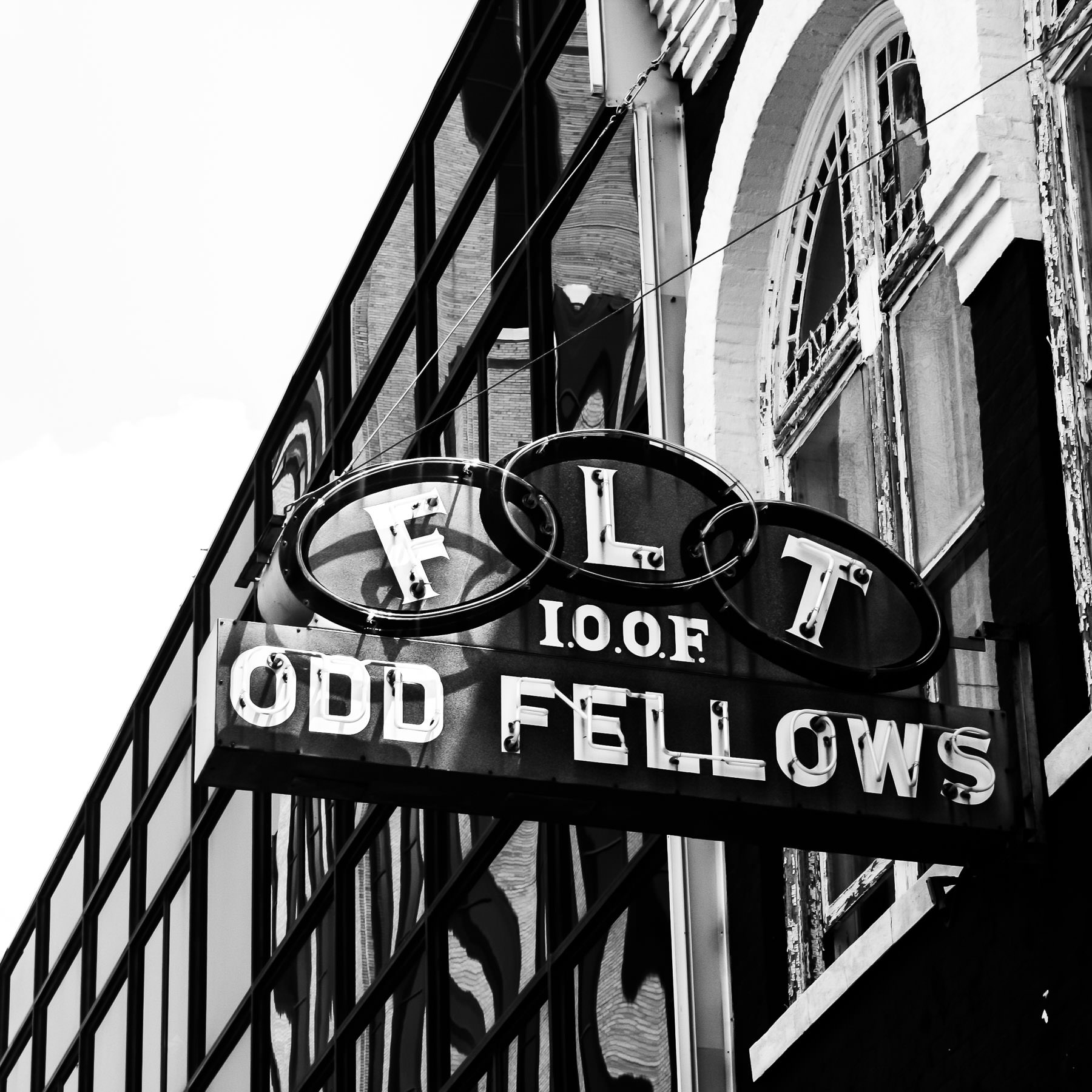 The sign at the International Order of Odd Fellows in Downtown Tyler, Texas.