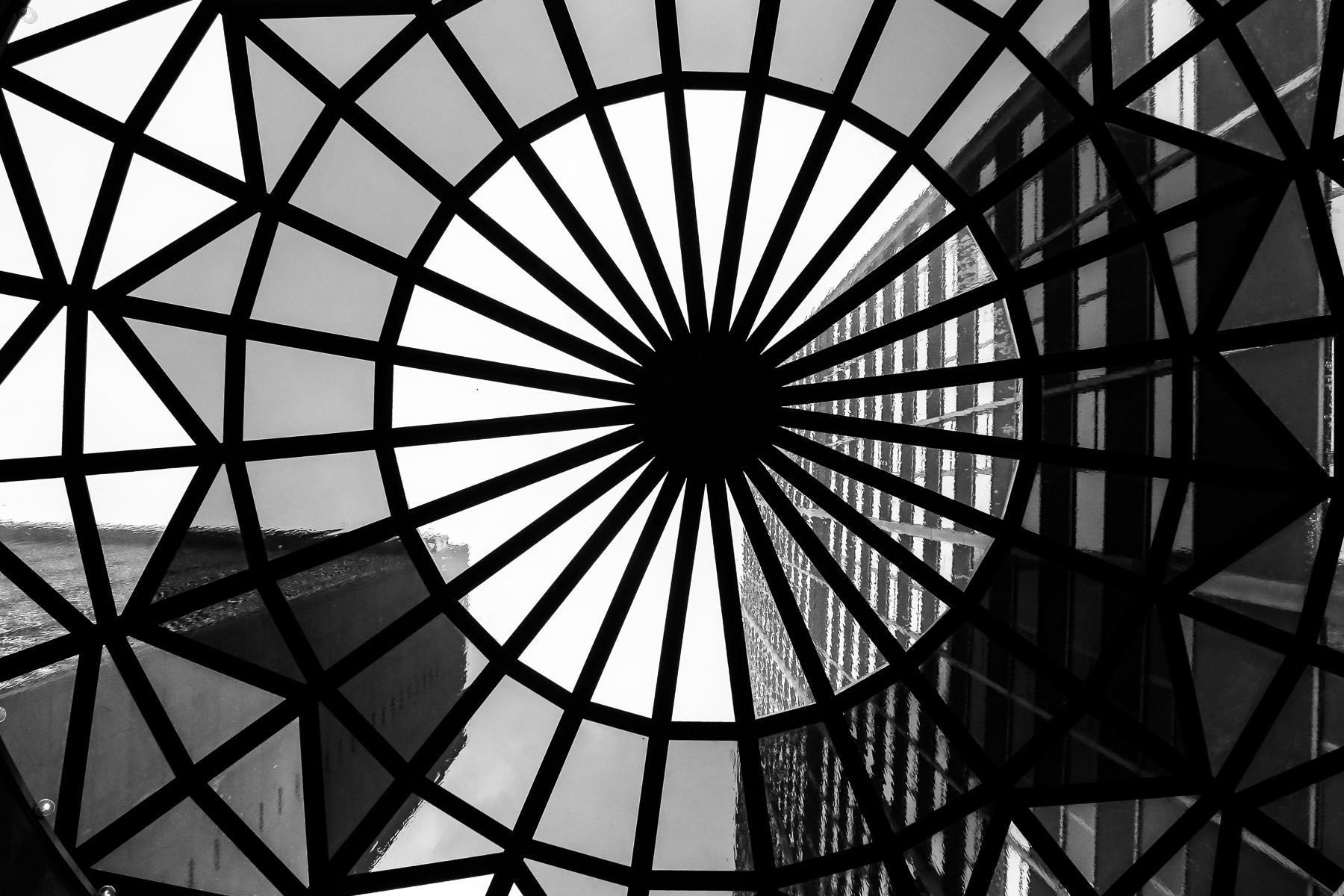 Through the skylight of the portico at the Sheraton Hotel in Downtown Dallas on a rainy Saturday.
