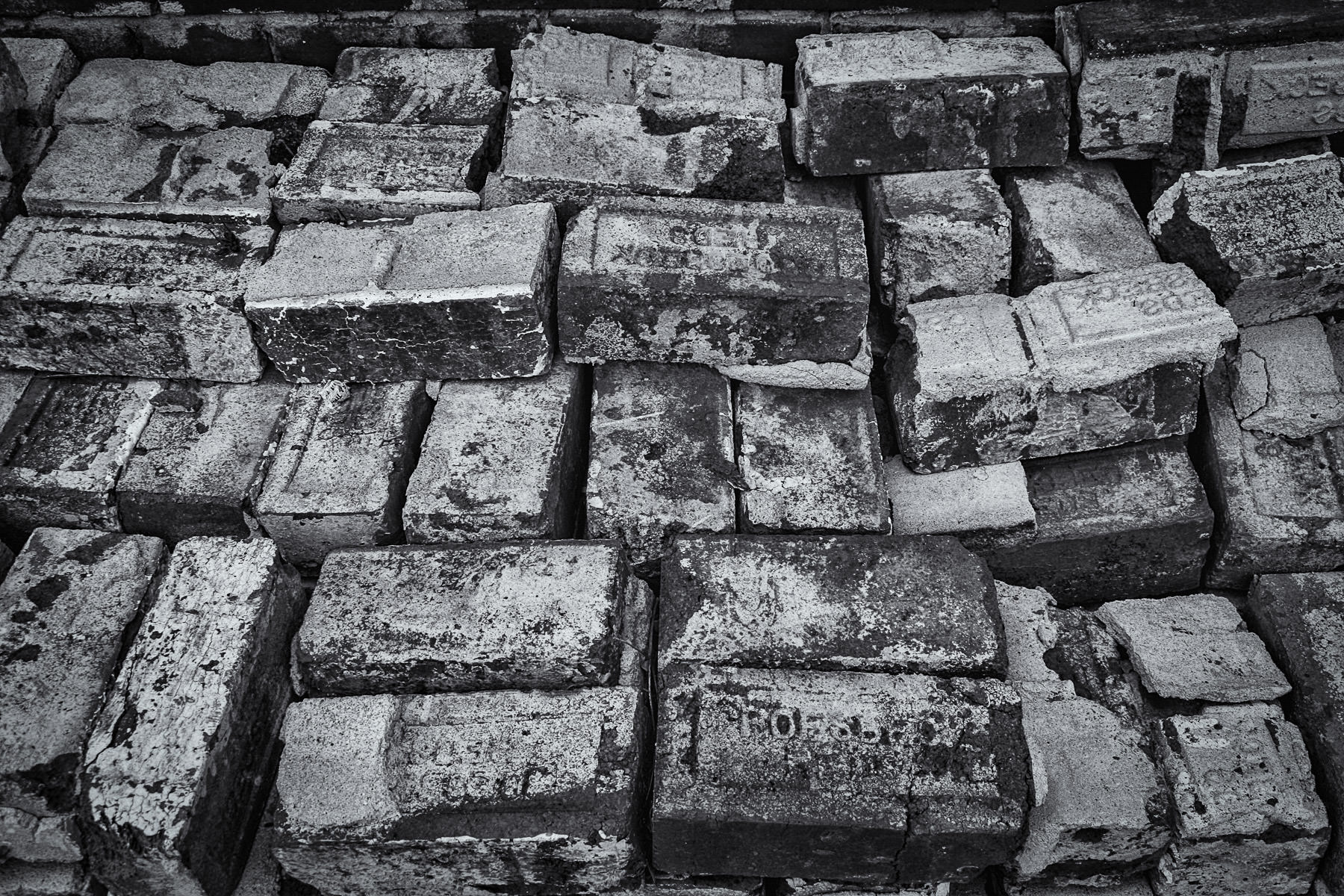 Bricks stacked neatly in a back alley in the tiny hamlet of Hico, Texas.