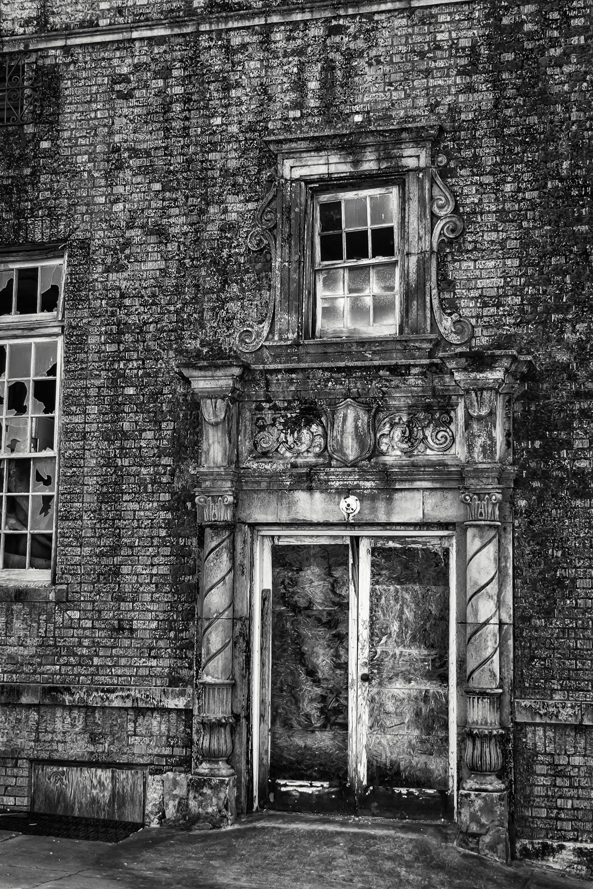 The side door to the abandoned and rather-frightening Baker Hotel in Mineral Wells, Texas.