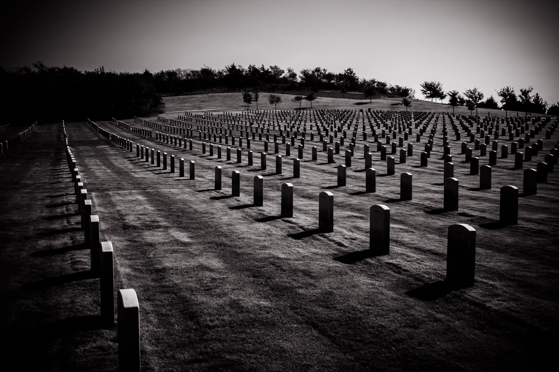 Rows of graves at the DFW National Cemetery in Dallas.