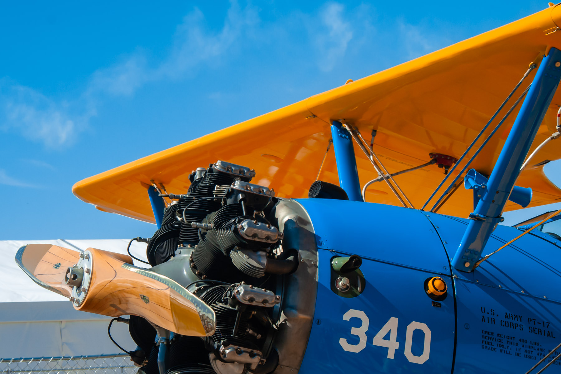Detail of a Stearman PT-17, spotted at the Alliance Air Show, Fort Worth, Texas.