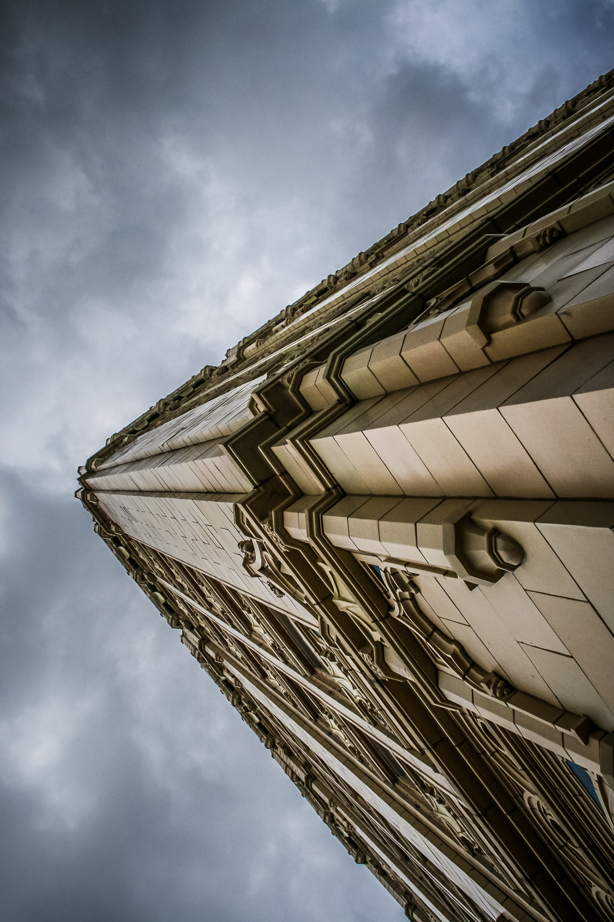 Exterior detail of Chase Bank in Corsicana, Texas, as a storm rolls in.