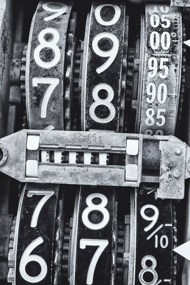 Detail of the dial mechanisms of an abandoned gas pump in Marietta, Oklahoma.