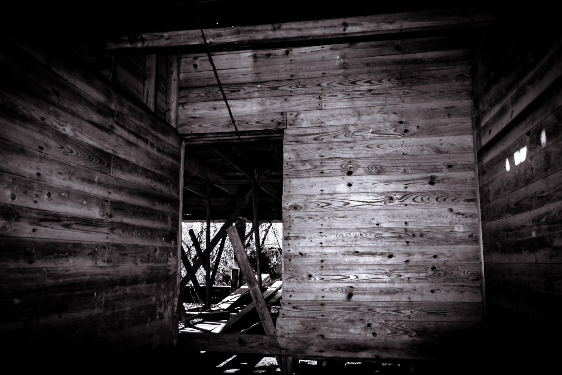 The interior of an abandoned barn found near Allen, Texas.
