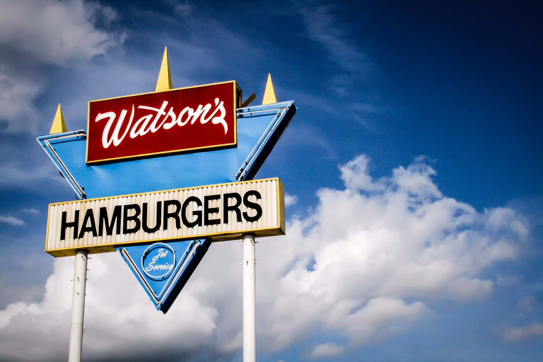 A Watson's Hamburgers stand sign in Denison, Texas.