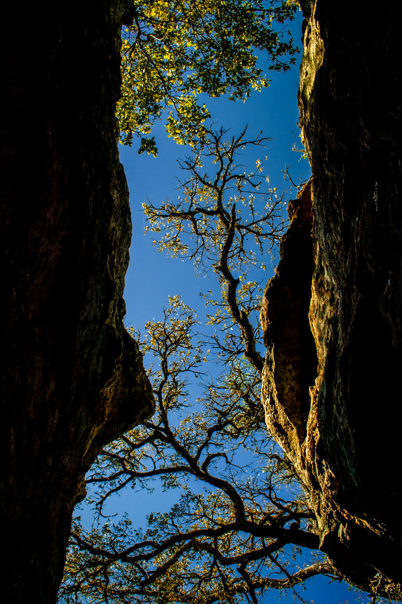 Between two giant rocks at Lake Mineral Wells, Texas.