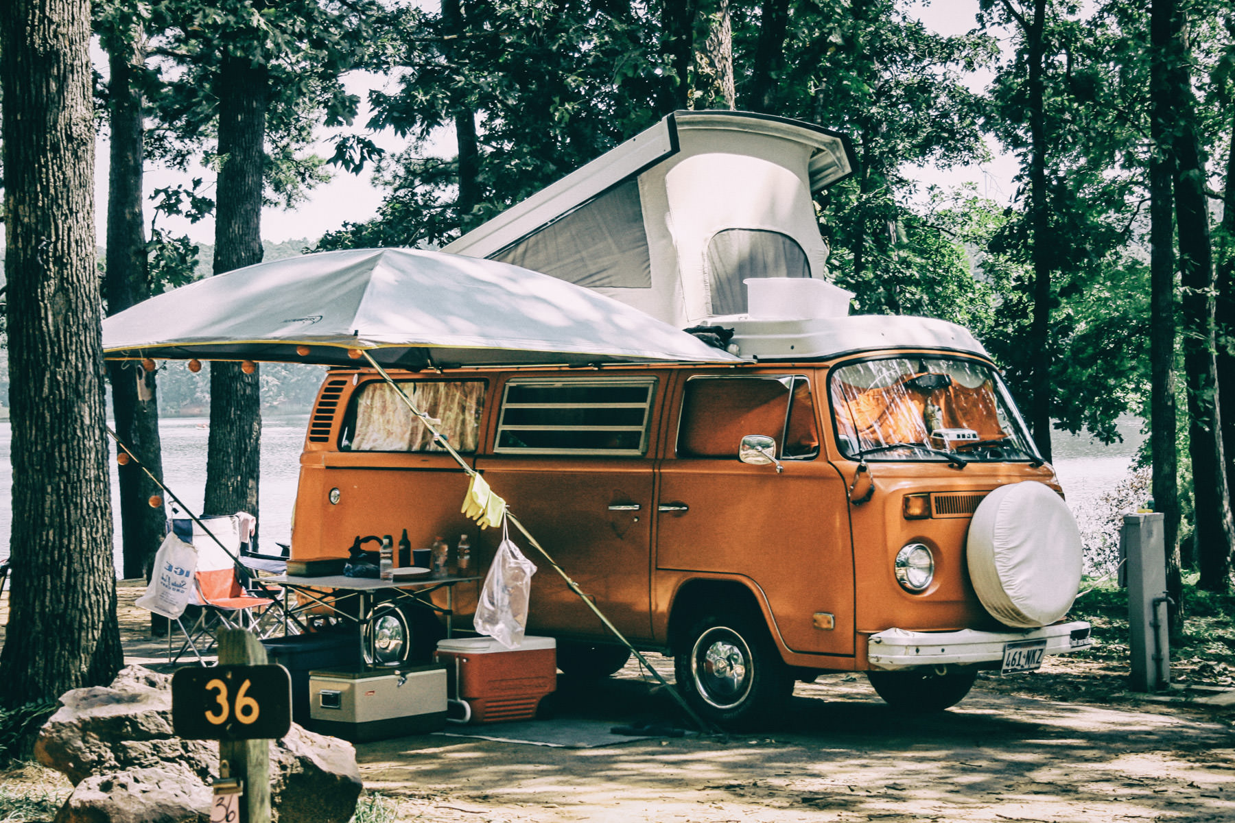 I spotted this Volkswagen Type 2 camper a while back at Tyler (Texas) State Park. When I was a little kid, waaaay back in the 70s, my parents had one of these, but I only have vague memories of it, which is kind of sad, I guess.