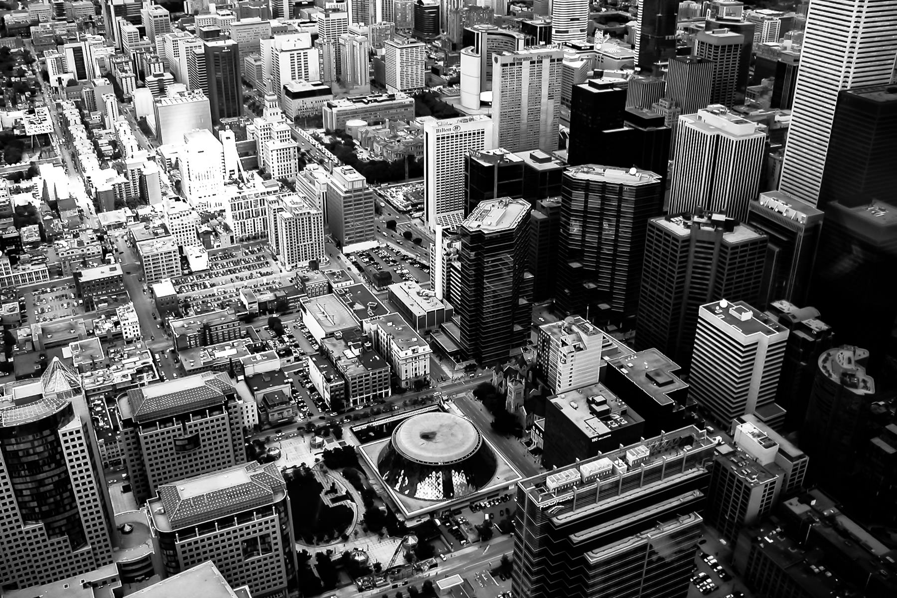 Roy Thomson Hall and the surrounding environs of Downtown Toronto as seen from the CN Tower.