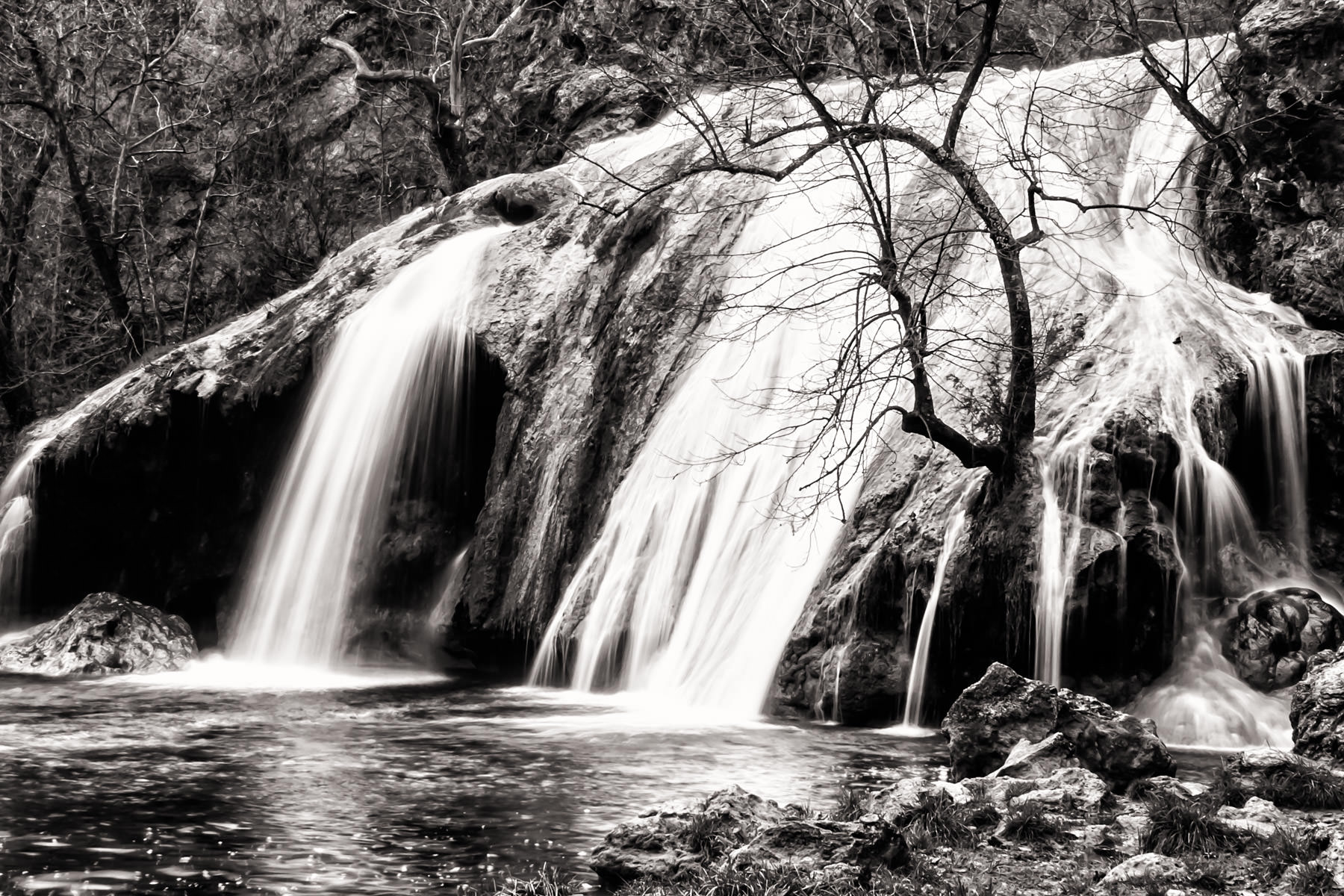 A long exposure shot of Turner Falls in the Arbuckle Mountains of Oklahoma.