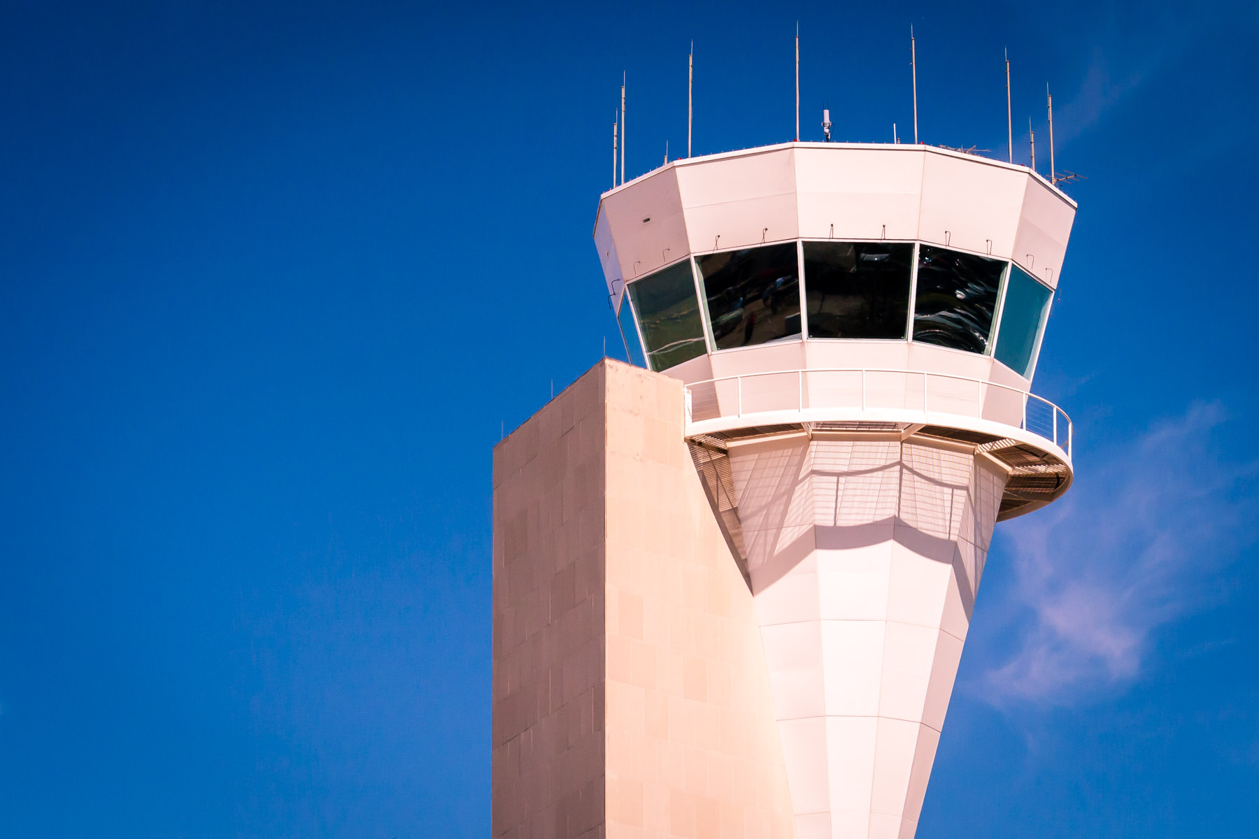 The control tower at Fort Worth-Alliance Airport, Texas, resembles a giant ice cream cone.