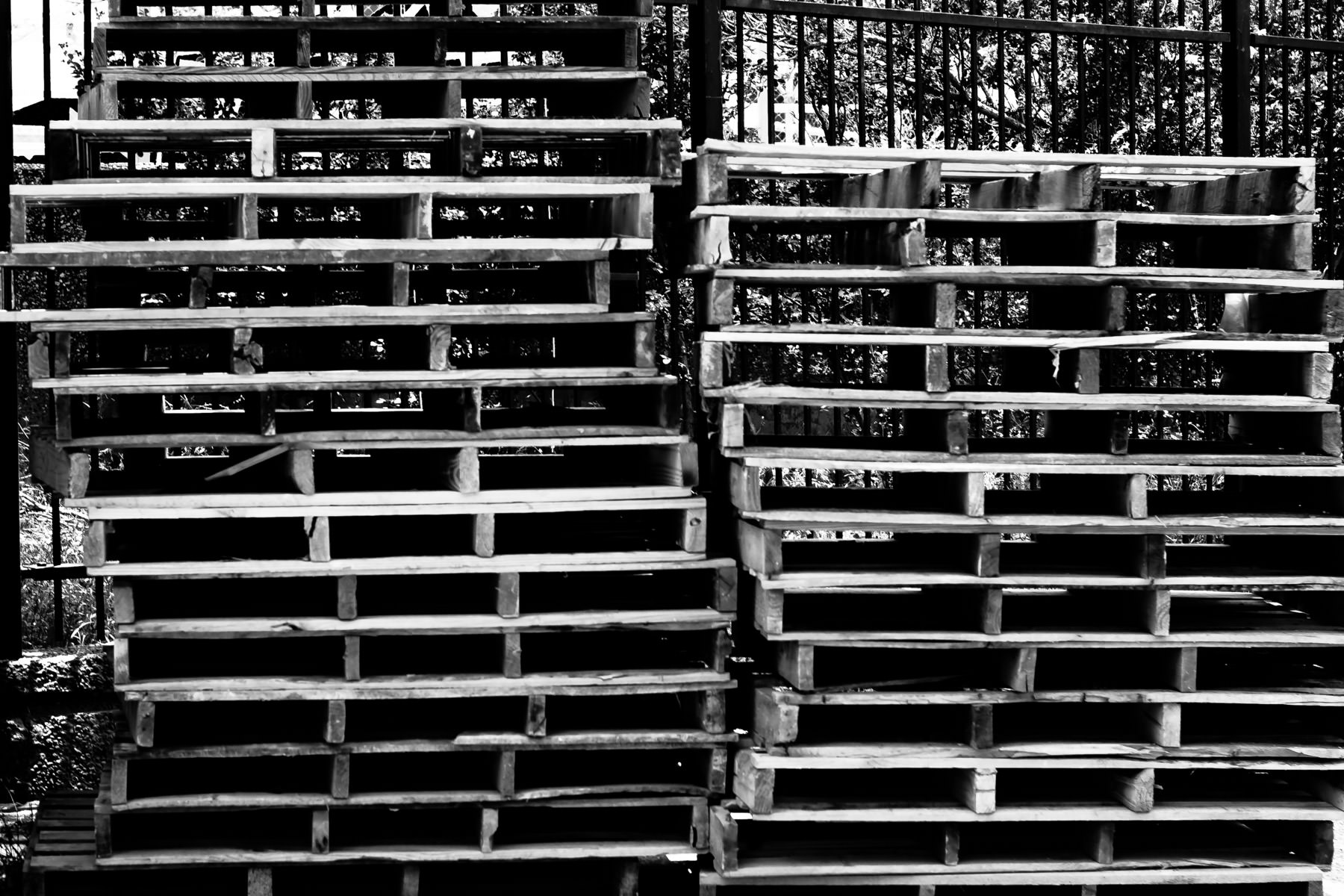 A stack of pallets in Fair Park, Dallas, Texas.