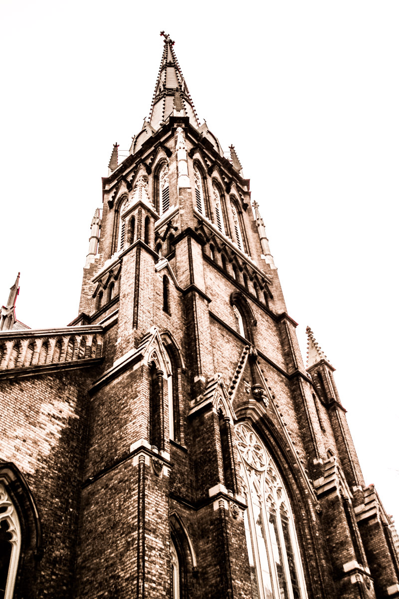 TheCathedral Church of St. James, opened in 1853, rises into the sky over Toronto.