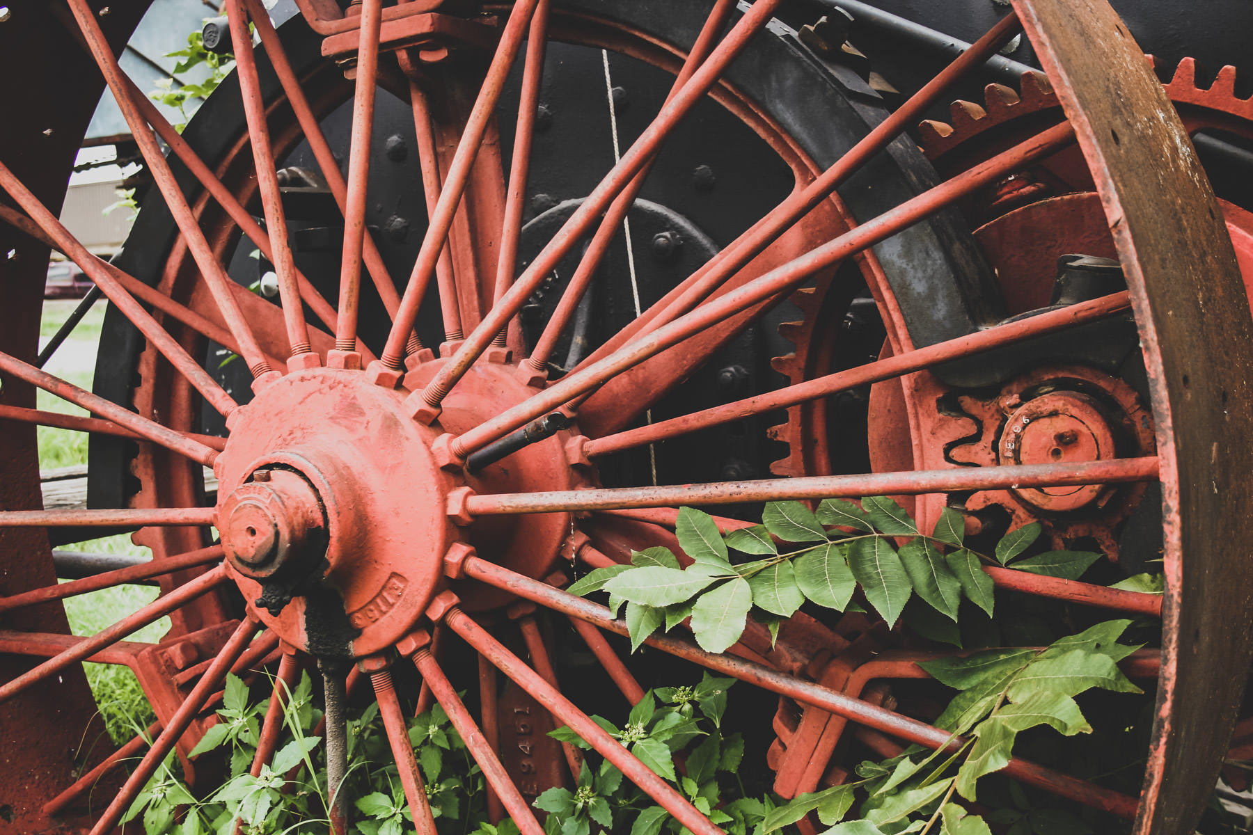 The wheel of an antique tractor found in Marietta, Oklahoma.