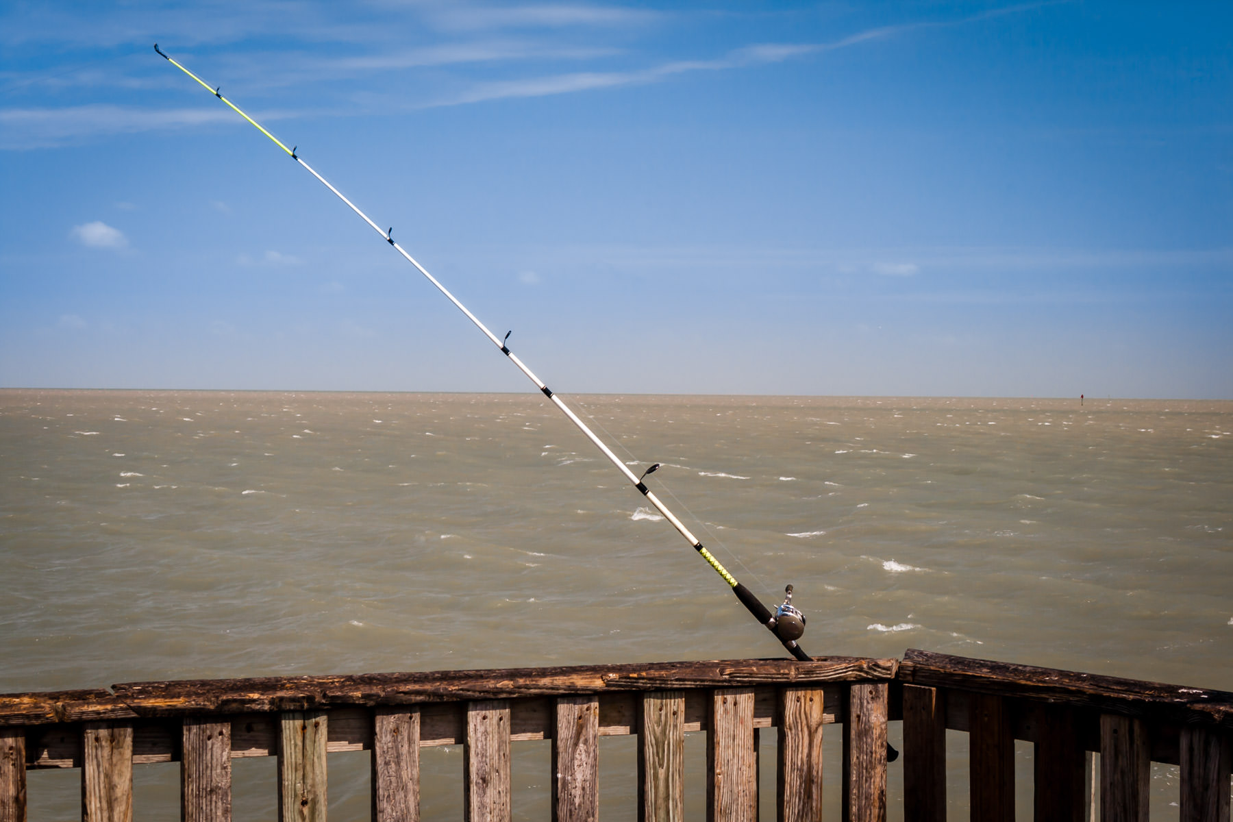 A fishing pole on a Port Isabel, Texas pier.