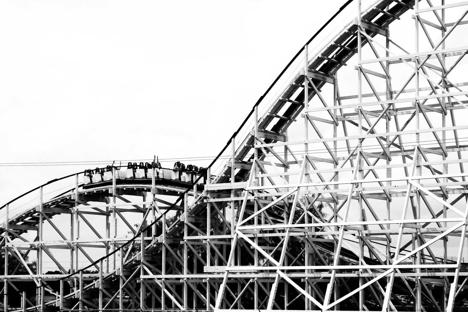 The Judge Roy Scream roller coaster at Six Flags Over Texas, Arlington, Texas.