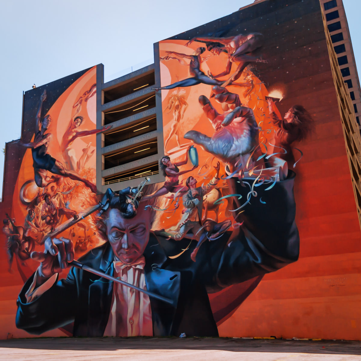 A gigantic mural on the side of a parking garage in Dallas' Arts District.