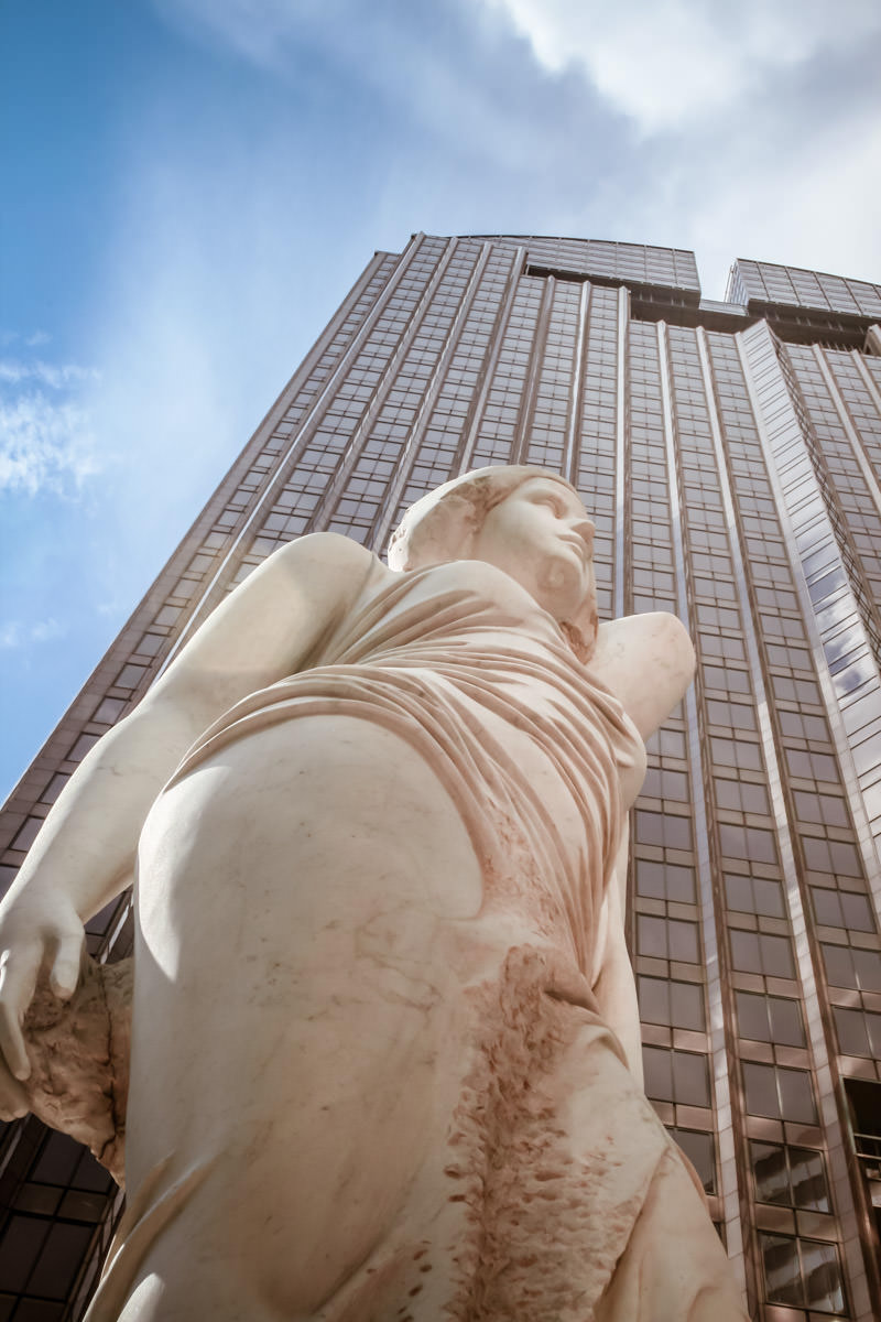 A statue outside of Chase Tower in Downtown Dallas, Texas.