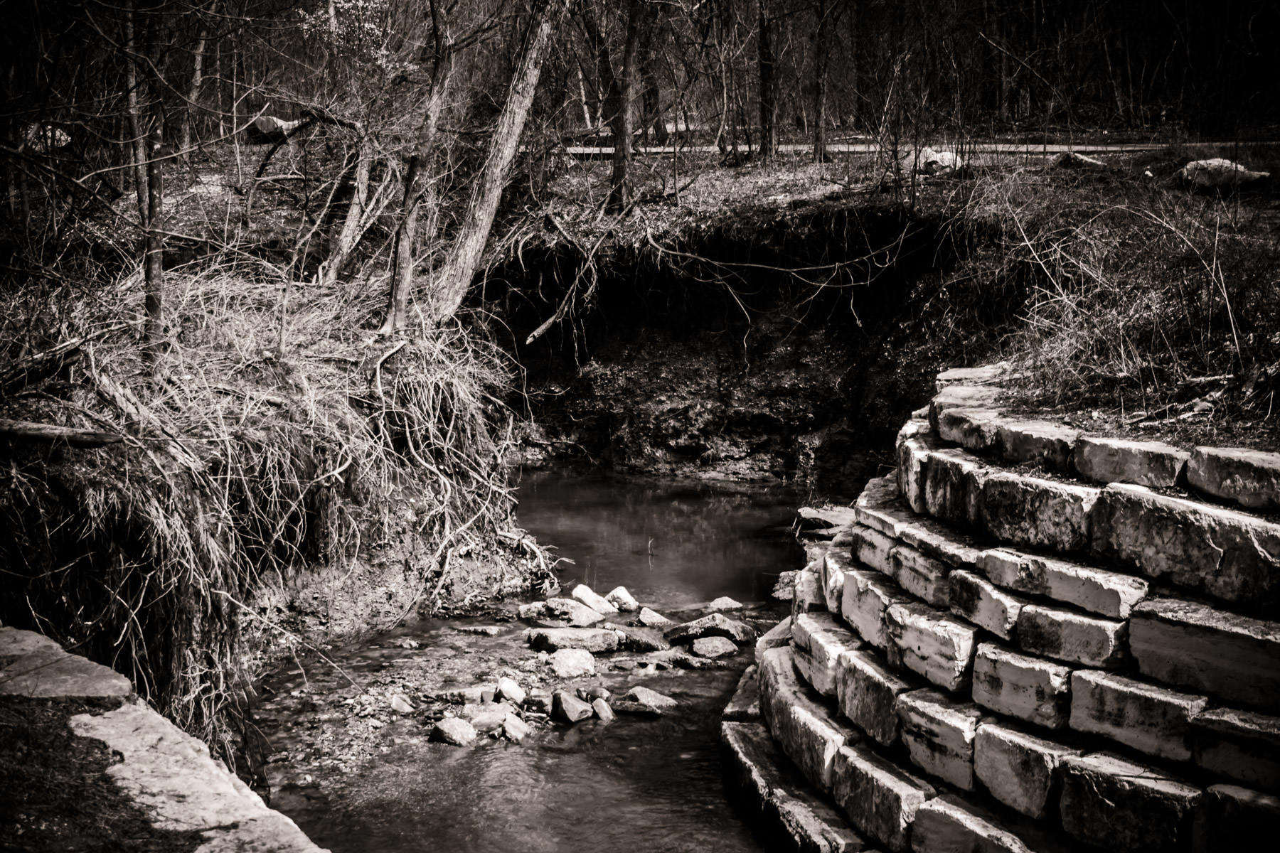 Stonework along a creek at Arbor Hills Nature Preserve, Plano, Texas.