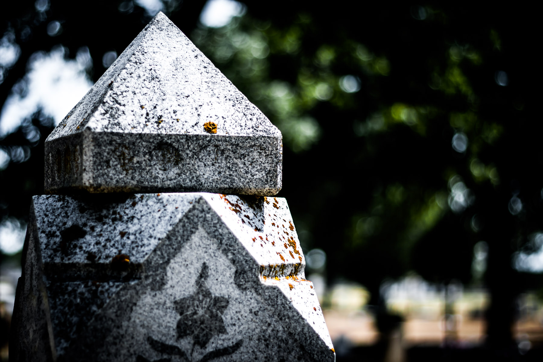 Detail of a headstone in a Cleburne, Texas, cemetery.