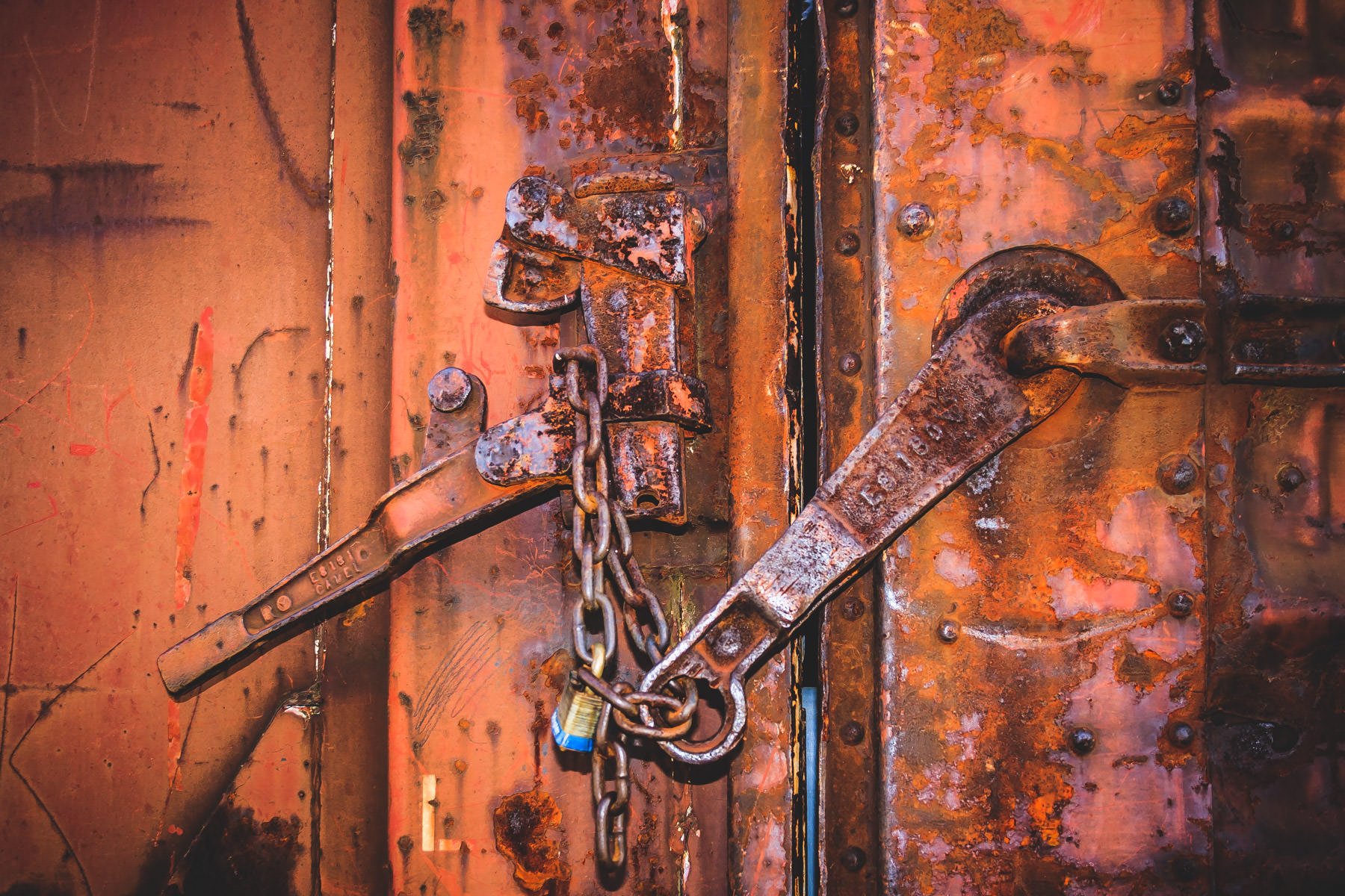 A latch on an old railroad car found in Grapevine, Texas.