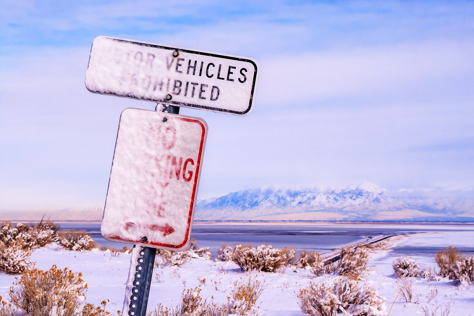 A frozen No Parking sign at the Antelope Island State Park Visitors Center, Utah.