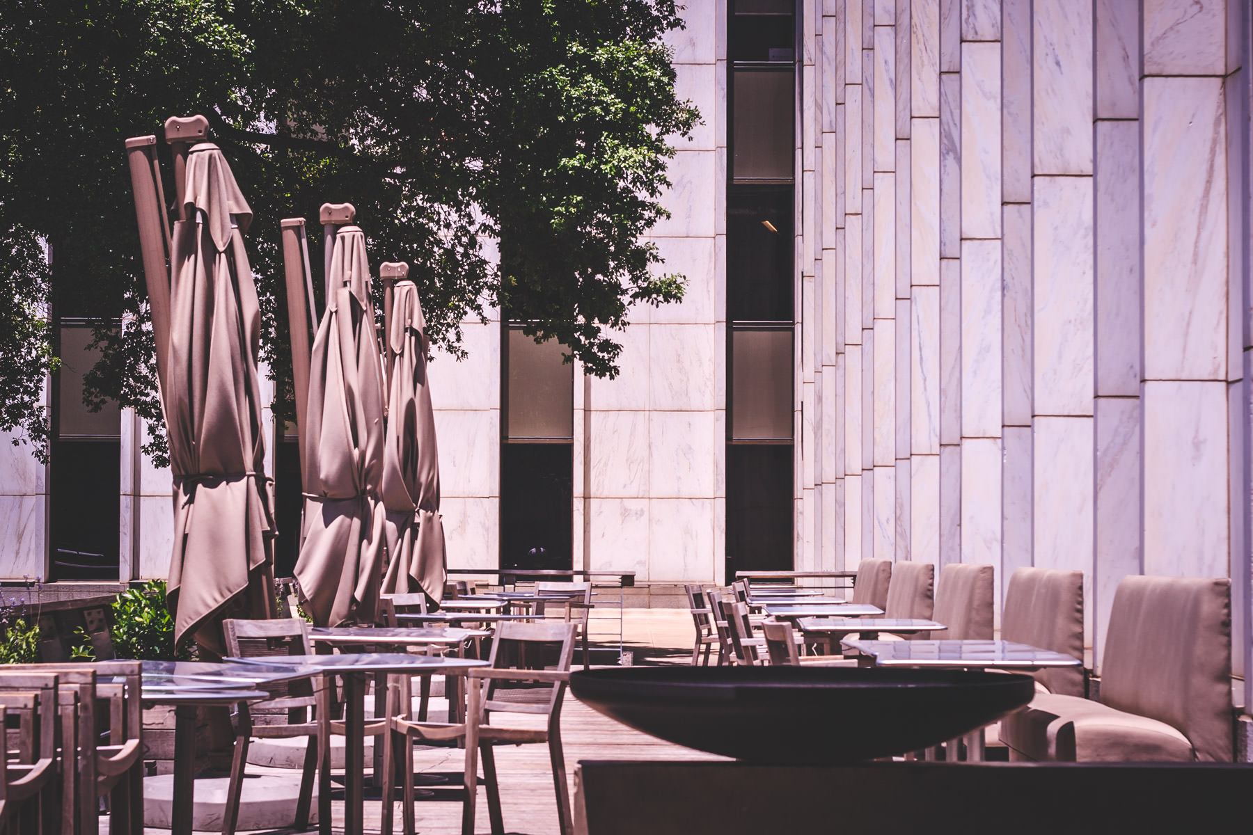 Cafe tables spotted in Downtown Dallas, Texas.