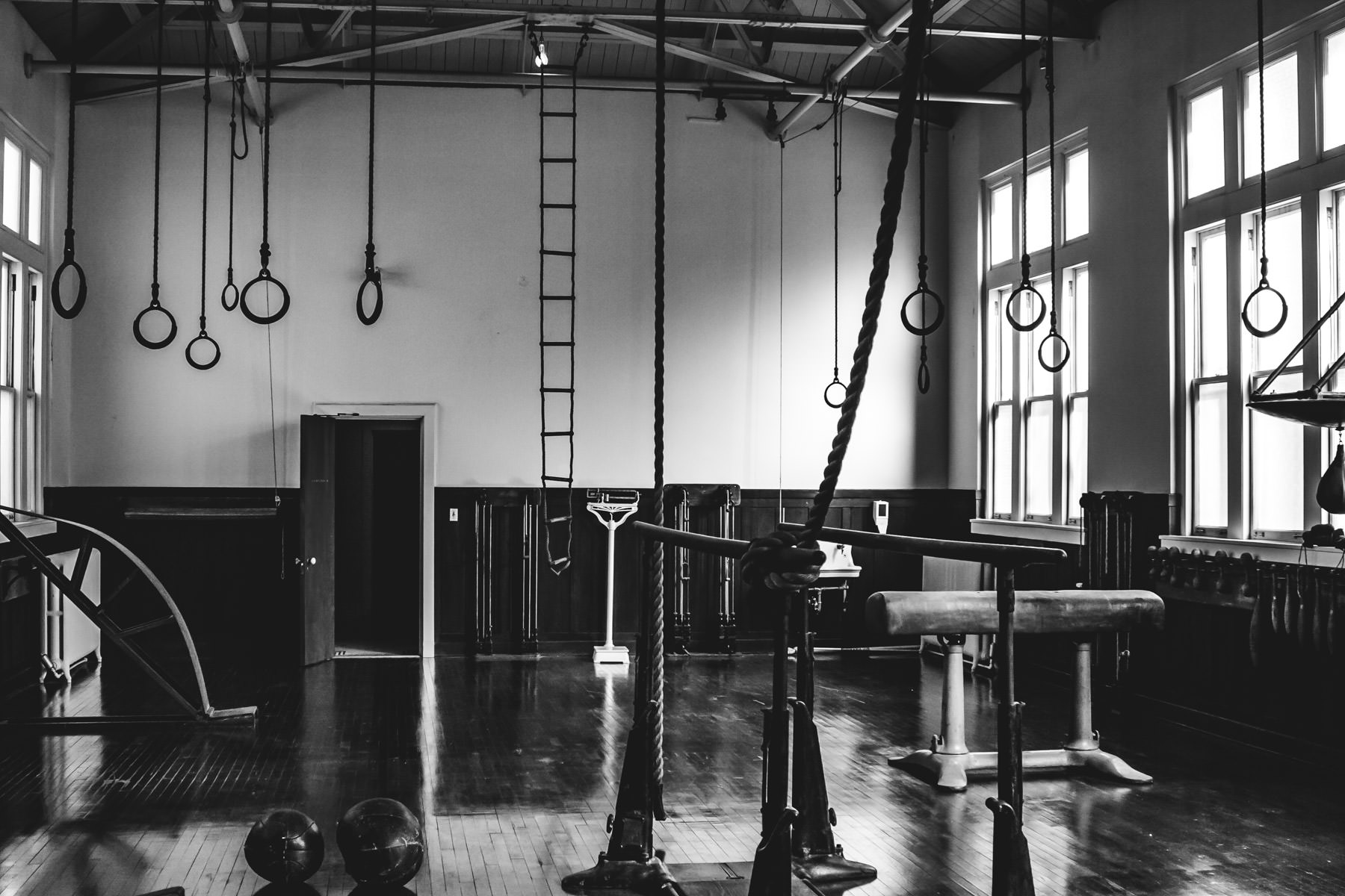 An early-Twentieth Century gym at Hot Springs, Arkansas' Fordyce Bathhouse resembles a creepy torture chamber.