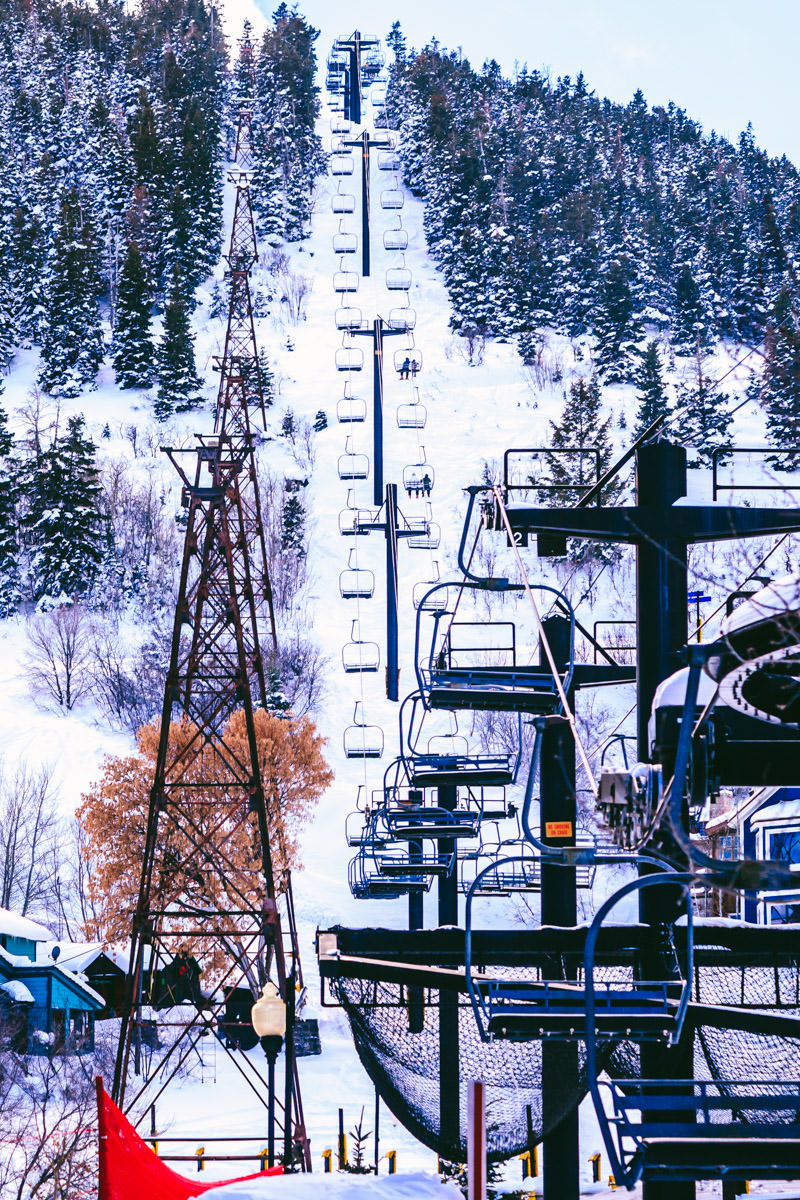 A ski lift in Park City, Utah.