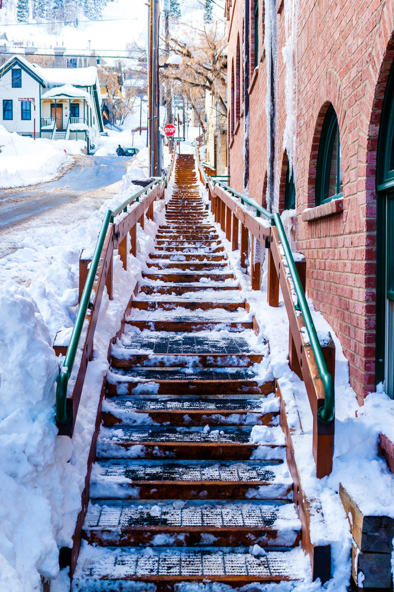 A snowy staircase in Park City, Utah.
