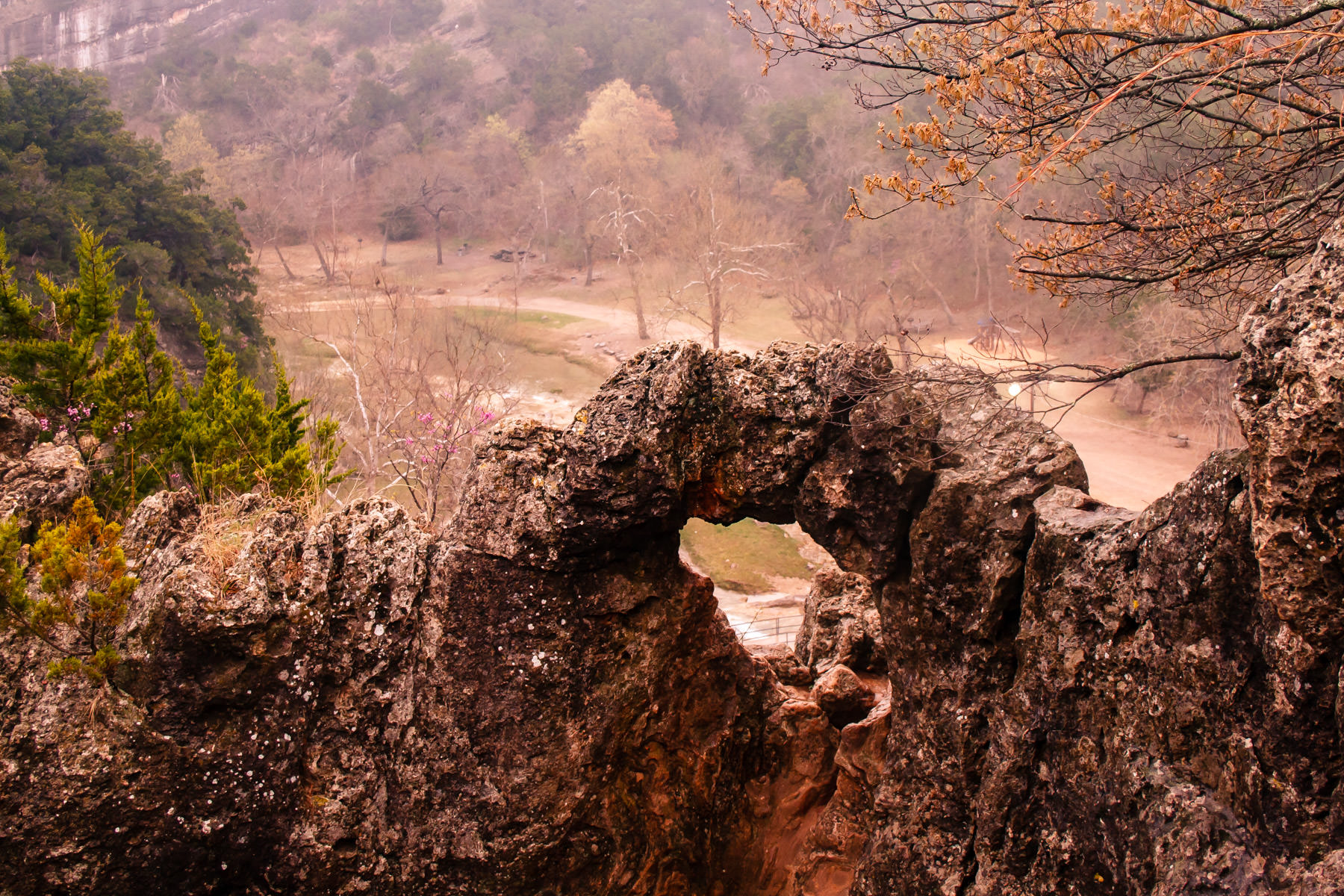 A hole in a rock formation at Turner Falls Park, Oklahoma.
