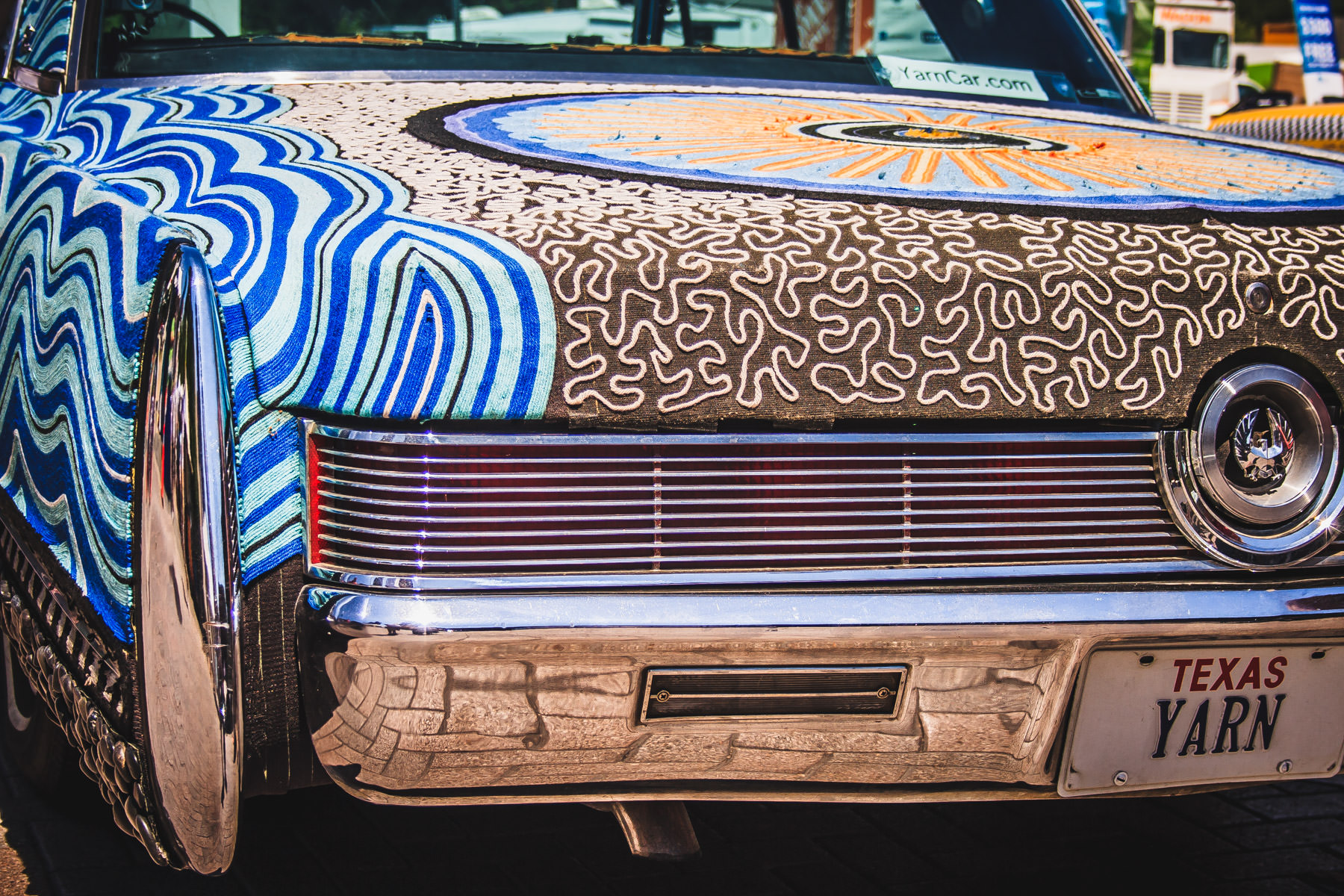 A yarn-covered art car spotted at the Dallas Arts Festival.