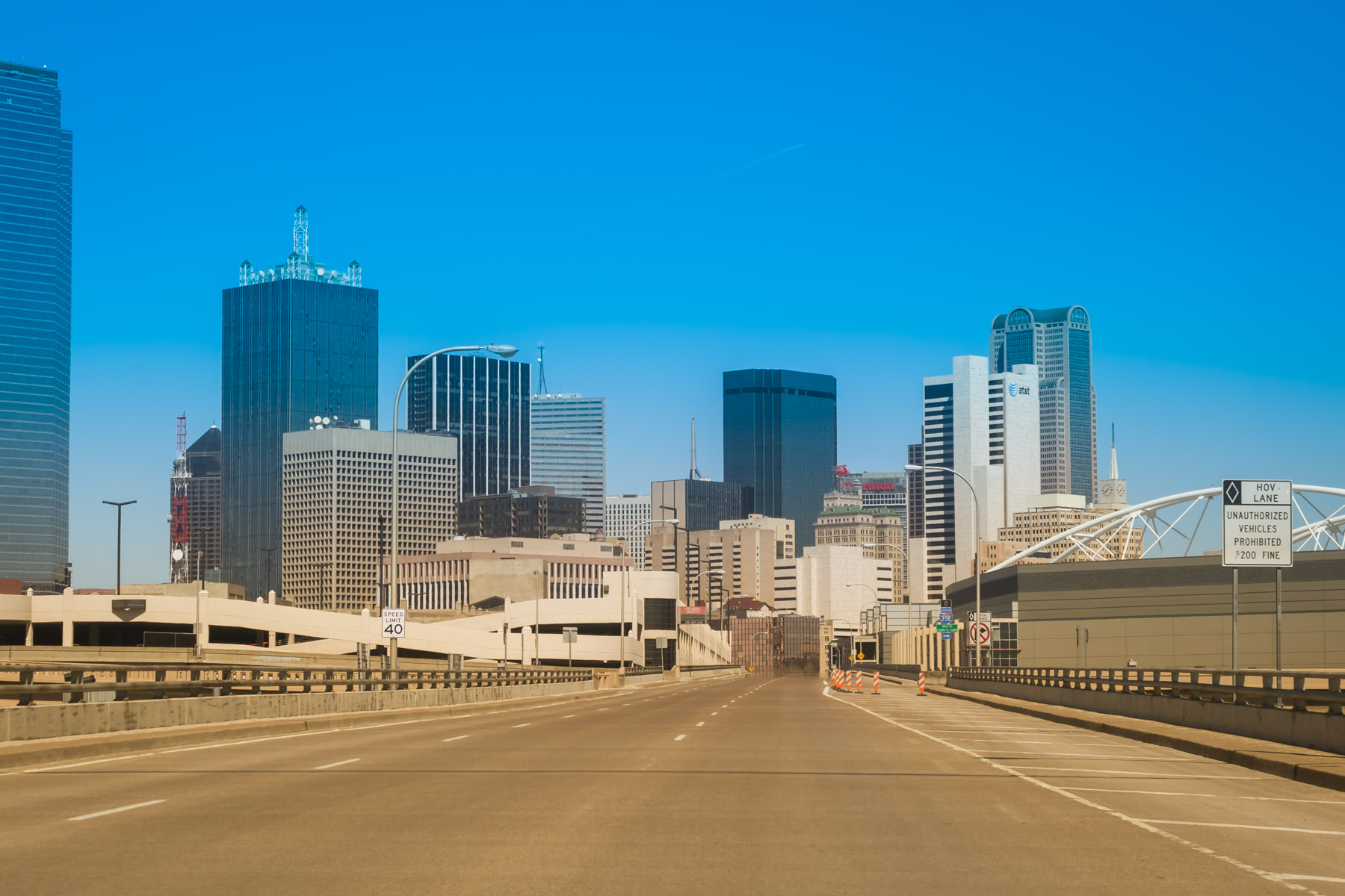 Part of the Dallas, Texas skyline as seen crossing the Houston Street Viaduct from Oak Cliff.
