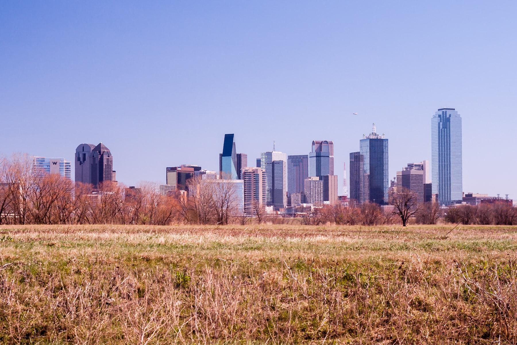 Downtown Dallas rises from the North Texas prairie.