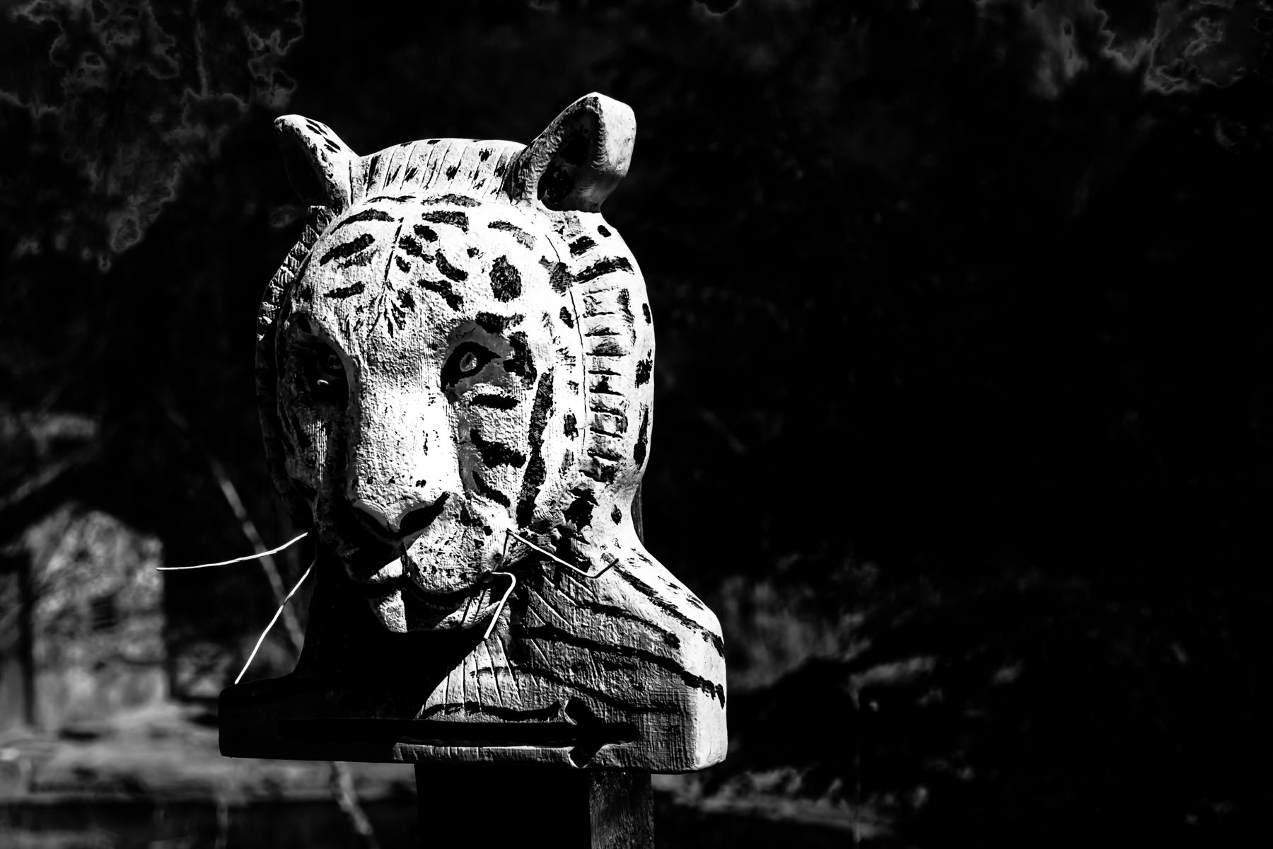 A lion head-shaped sign at the Caldwell Zoo, Tyler, Texas.