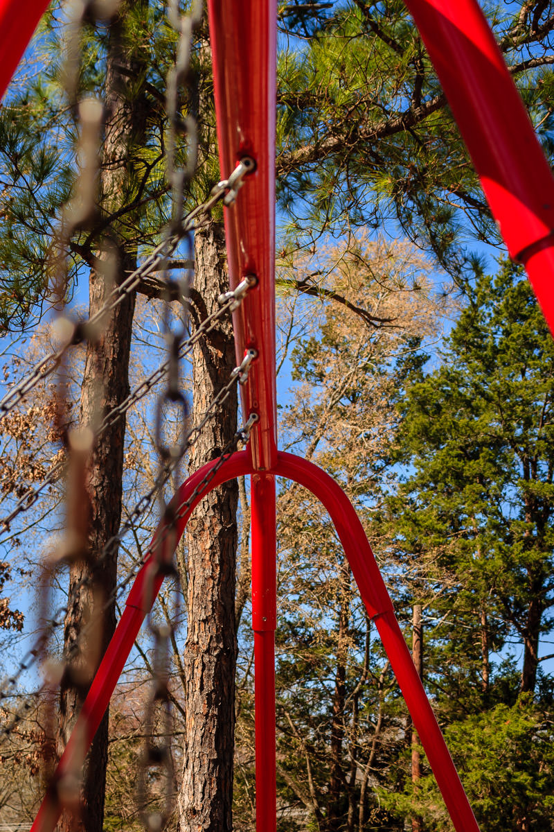 Chains on a swing set at Pollard Park, Tyler, Texas.