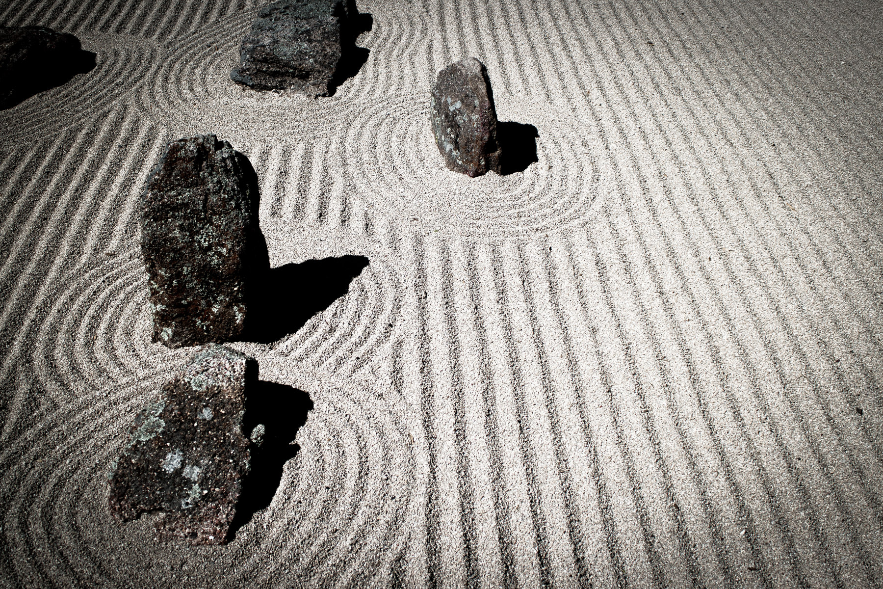 A zen garden in the Japanese Garden at the Fort Worth Botanic Gardens, Texas.