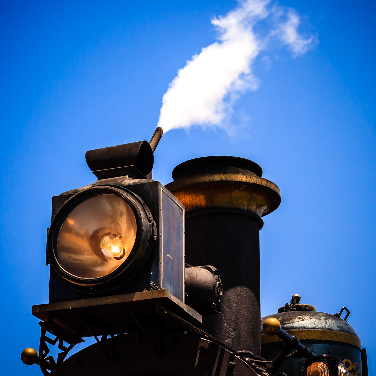 Detail of an 1896 steam locomotive belonging to the Grapevine Vintage Railroad, Grapevine, Texas.