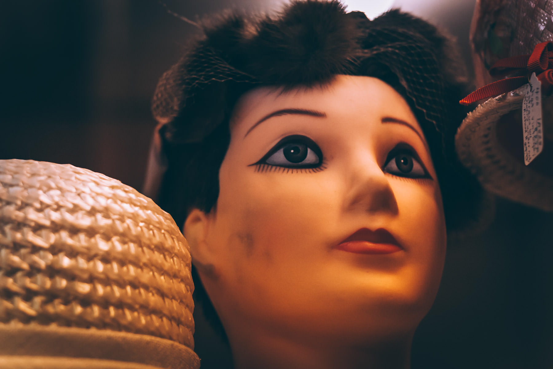 A wig display mannequin head at an antique shop in Gladewater, Texas.