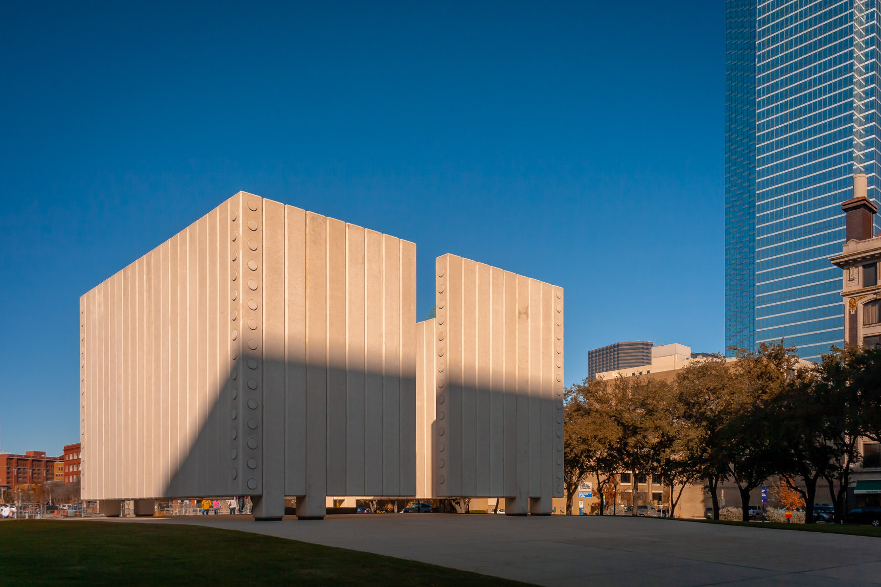 Dallas'—the site of his assassination—memorial to President John F. Kennedy is a cenotaph designed by architect Philip Johnson.