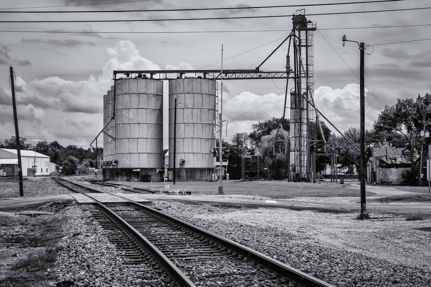 Silos and railroad tracks in Waxahachie, Texas.