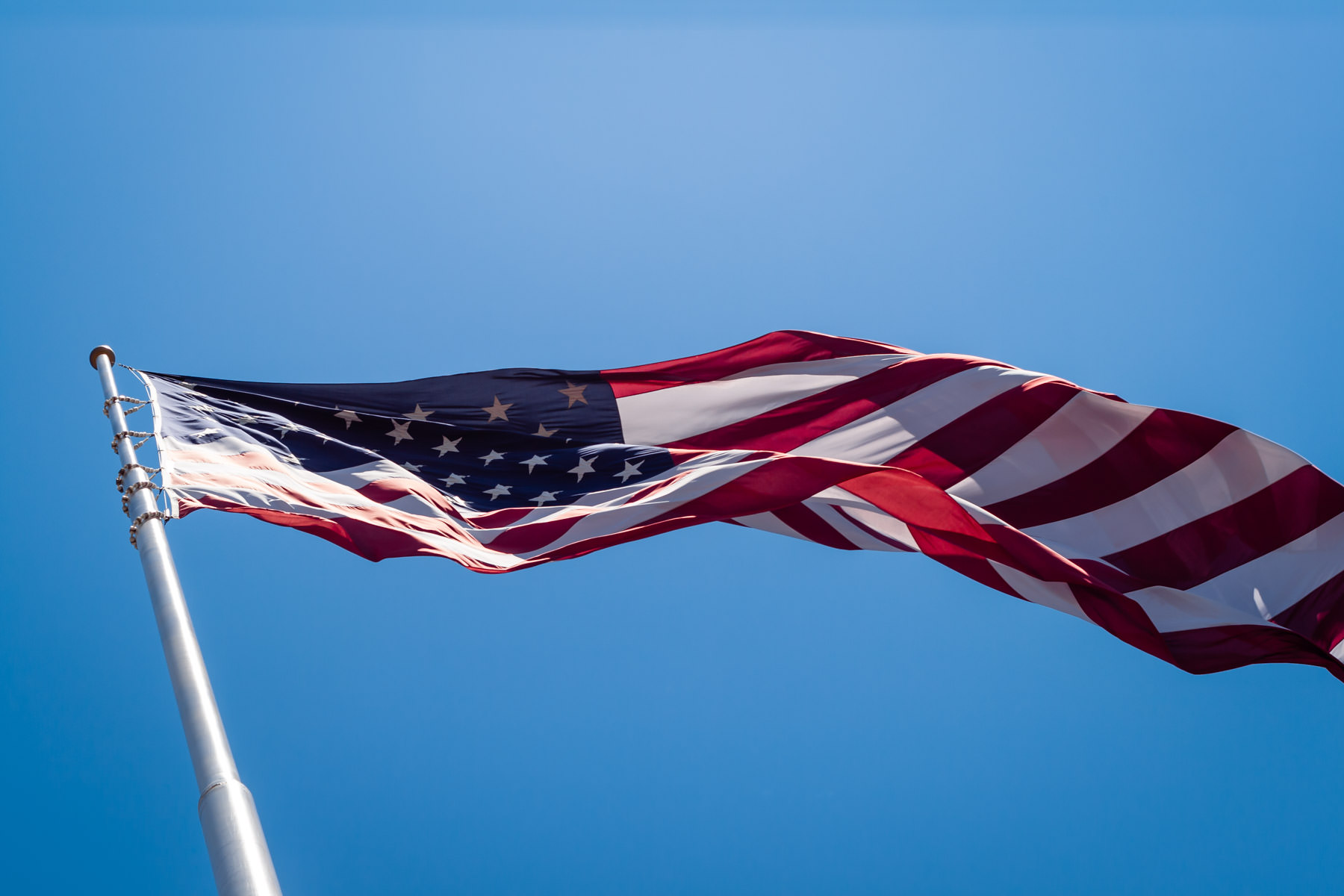 An American flag flies over Plano, Texas.