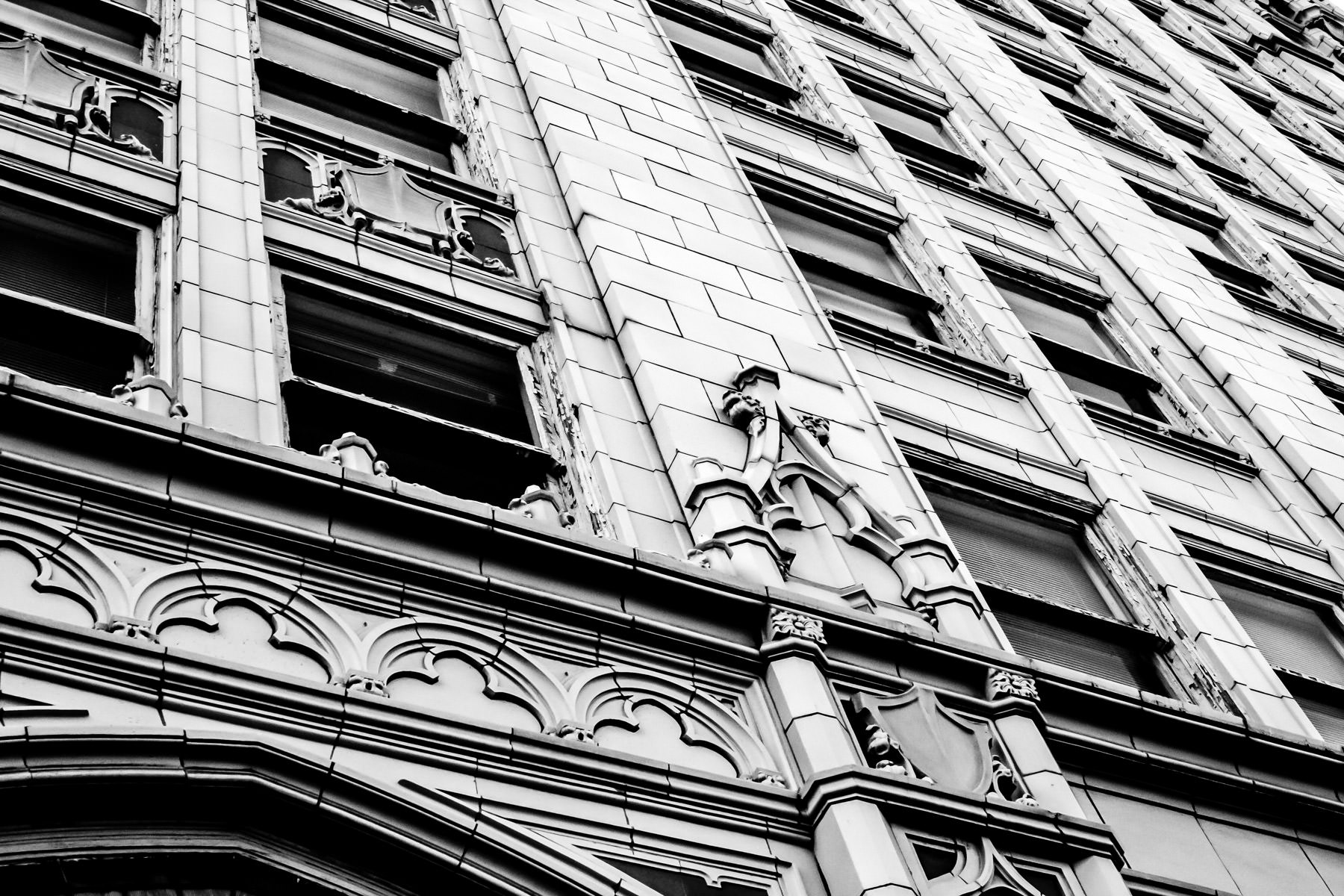 Detail of the Chase Bank building in Corsicana, Texas.