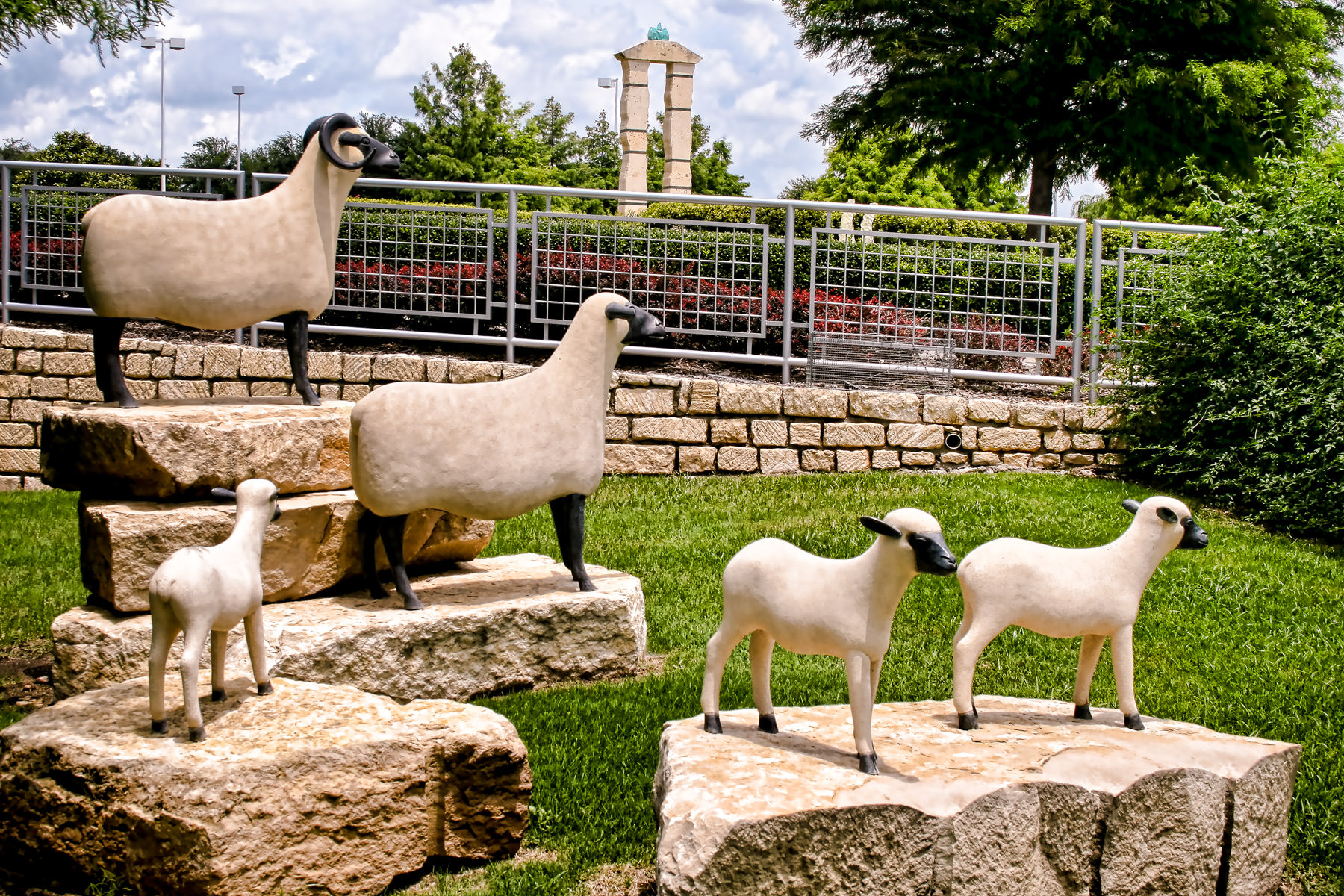A sculpture of sheep at the Texas Sculpture Garden in Frisco, Texas.