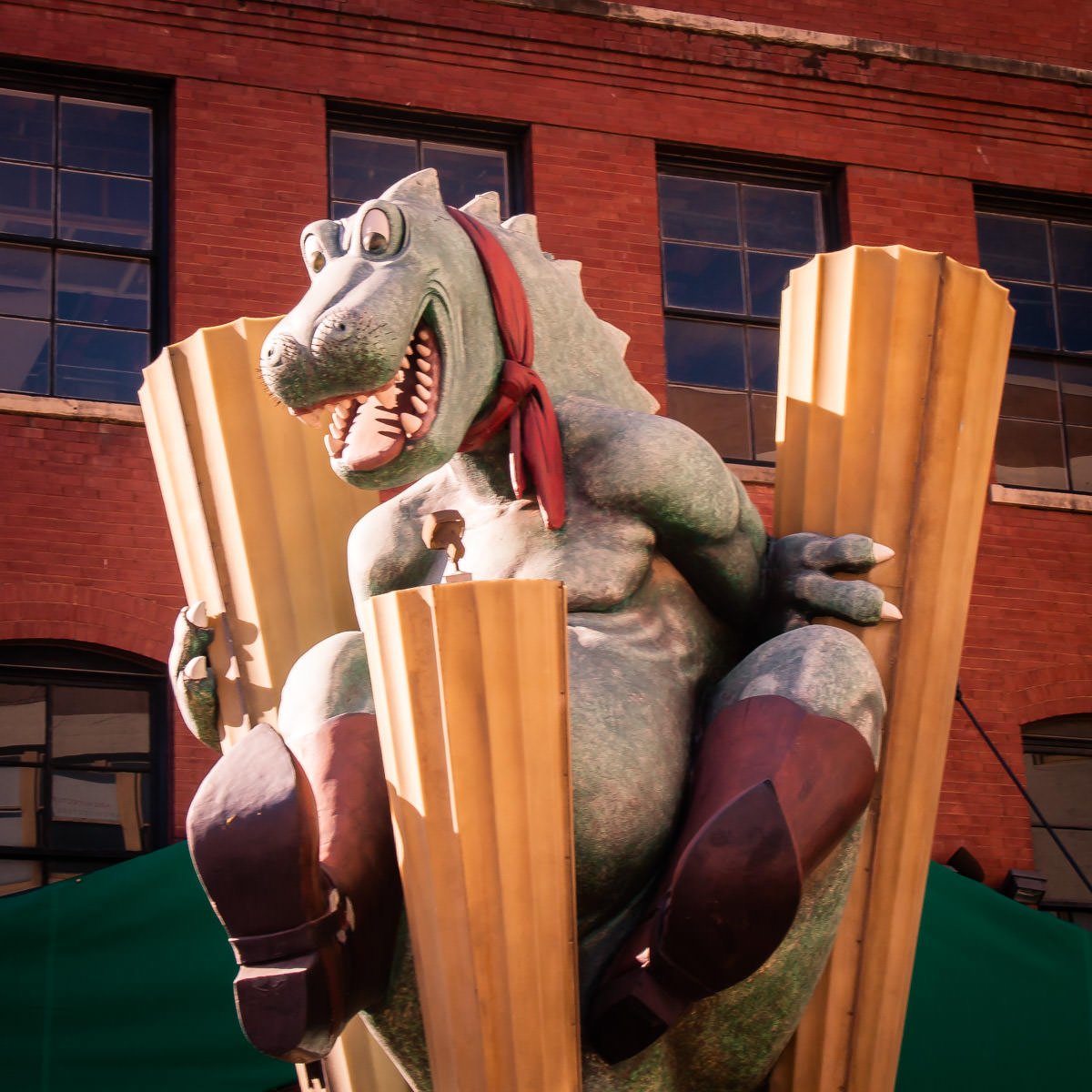 This dragon stands outside of what used to be Planet Hollywood in Dallas, Texas' West End.