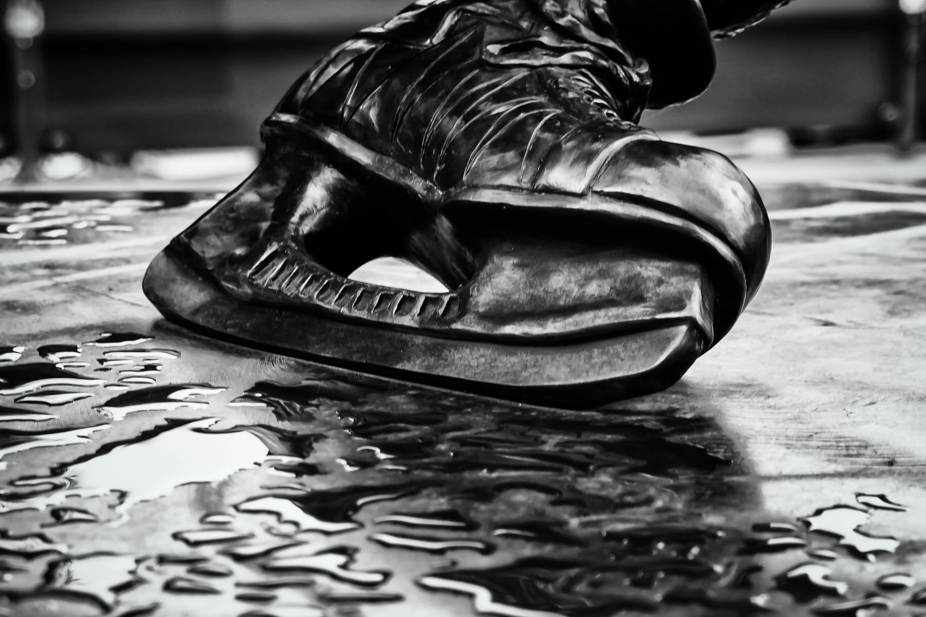 The left skate of the statue of Guy Lafleur in the Habs Zone at the Centre Bell in Montréal.