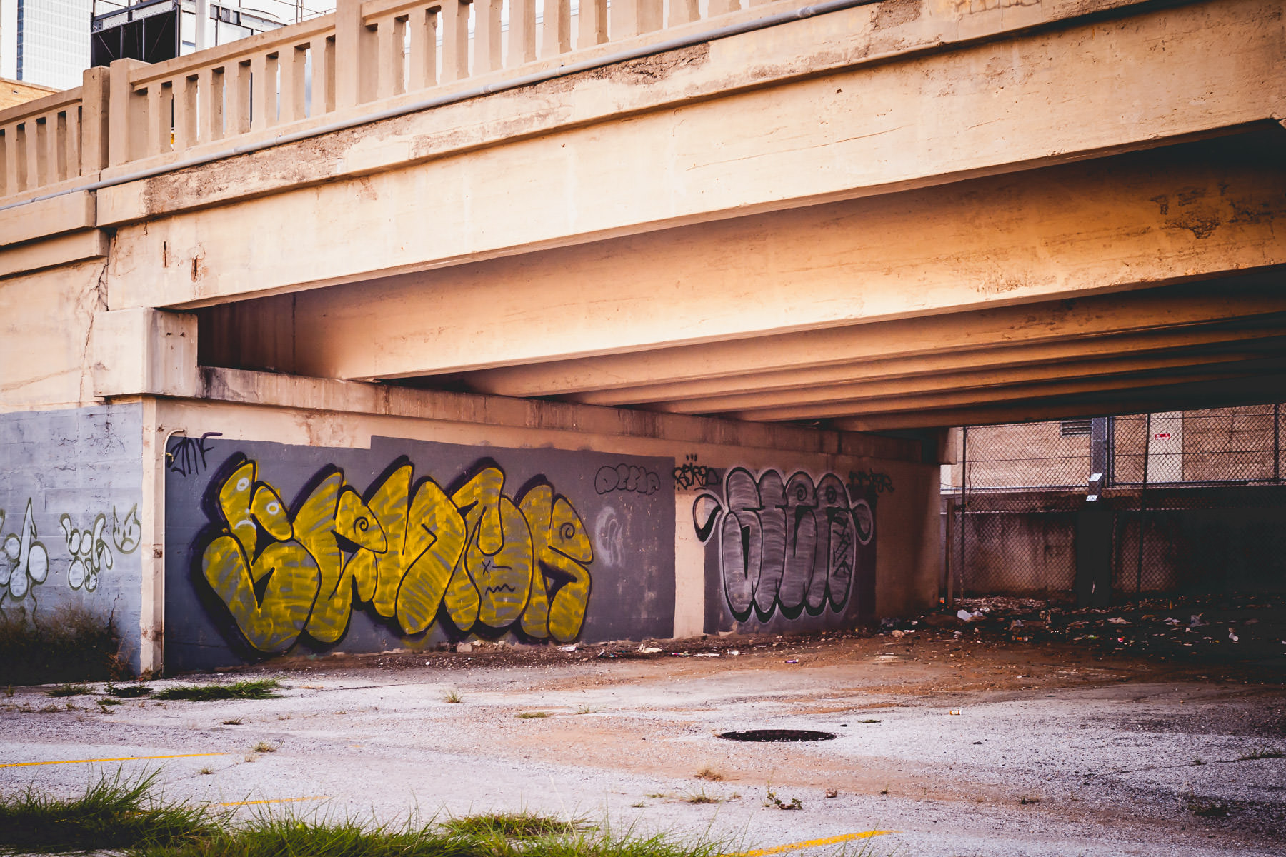 Graffiti and decay in Dallas' Reunion area.