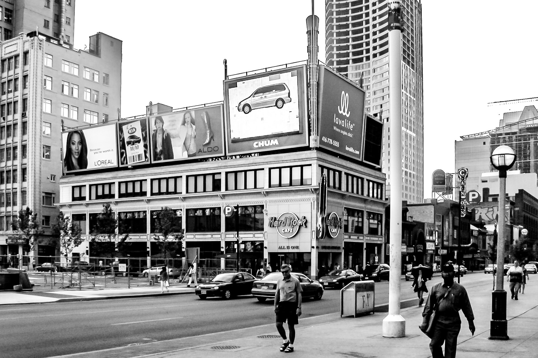 Toronto's Hard Rock Cafe sits across from the city's landmark Dundas Square.